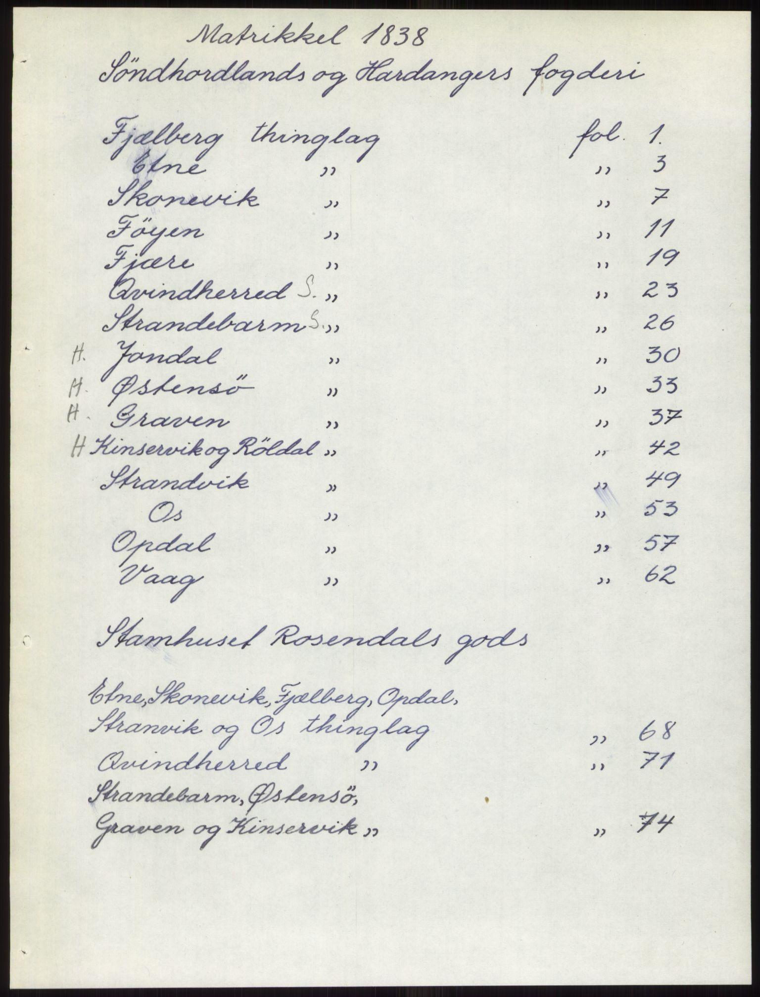 PUBL, Andre publikasjoner, -/Bind 11: Søndre Bergenhus amt: Sunnhordland og Hardanger fogderi, Stamhuset Rosendals gods og Lyse klosters gods, 1838, p. 1
