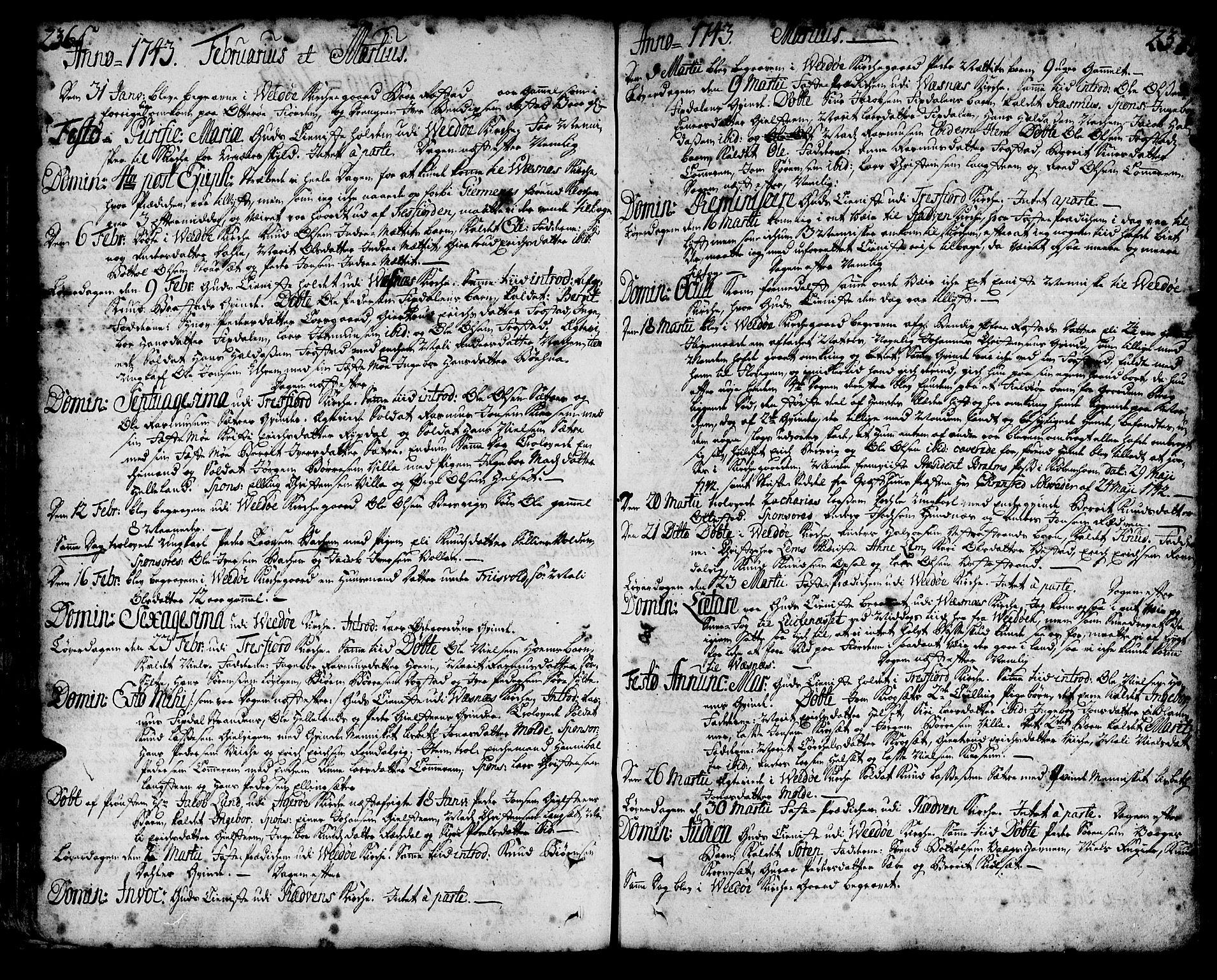 SAT, Ministerialprotokoller, klokkerbøker og fødselsregistre - Møre og Romsdal, 547/L0599: Parish register (official) no. 547A01, 1721-1764, p. 236-237
