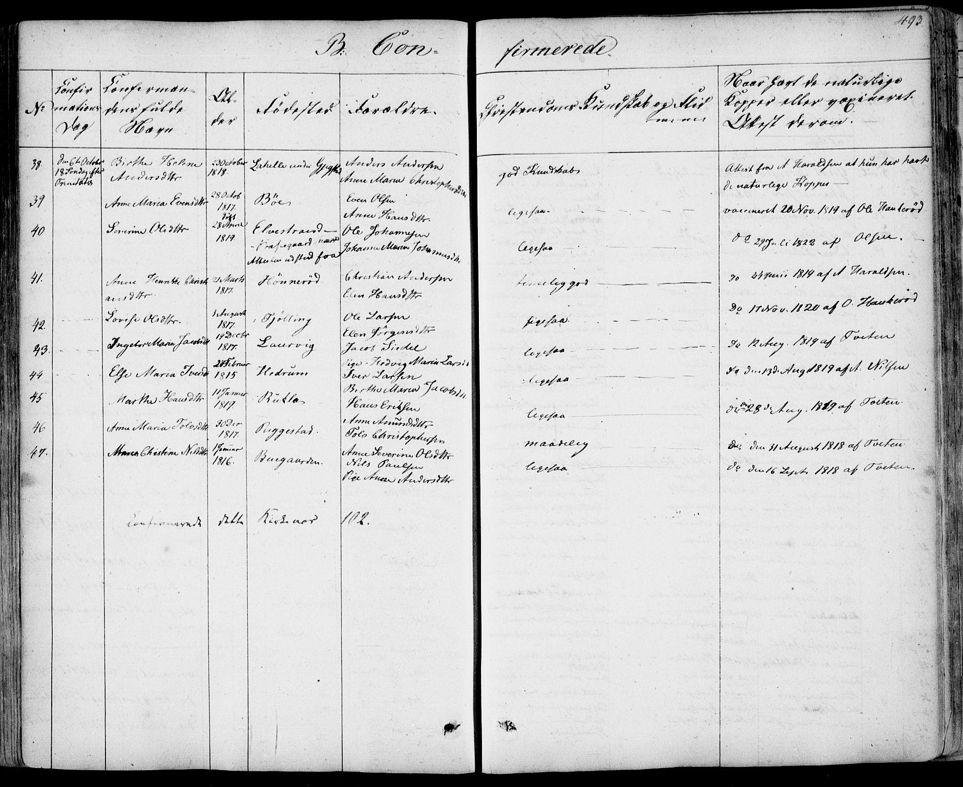 SAKO, Sandar kirkebøker, F/Fa/L0005: Parish register (official) no. 5, 1832-1847, p. 492-493
