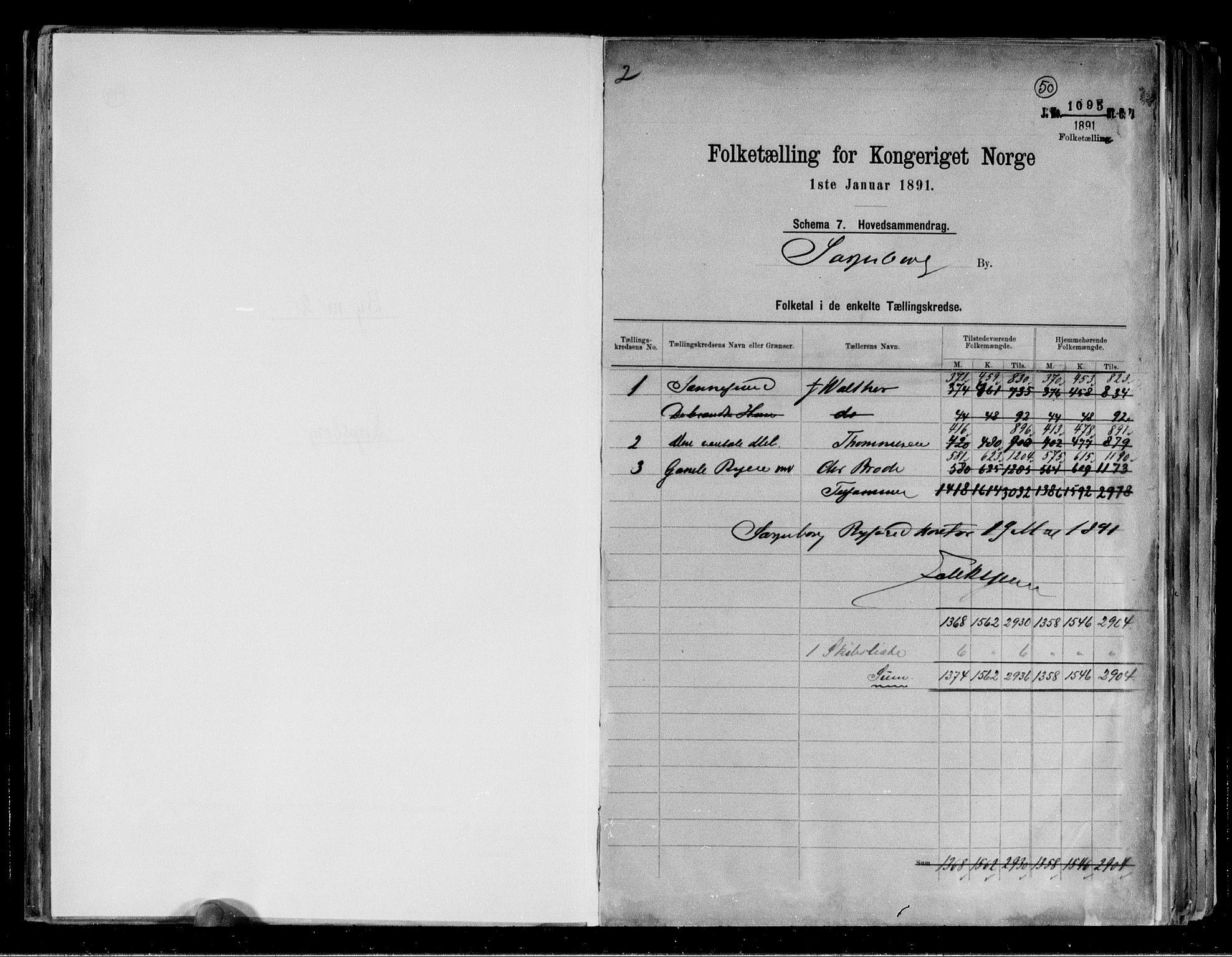 RA, 1891 census for 0102 Sarpsborg, 1891, p. 2