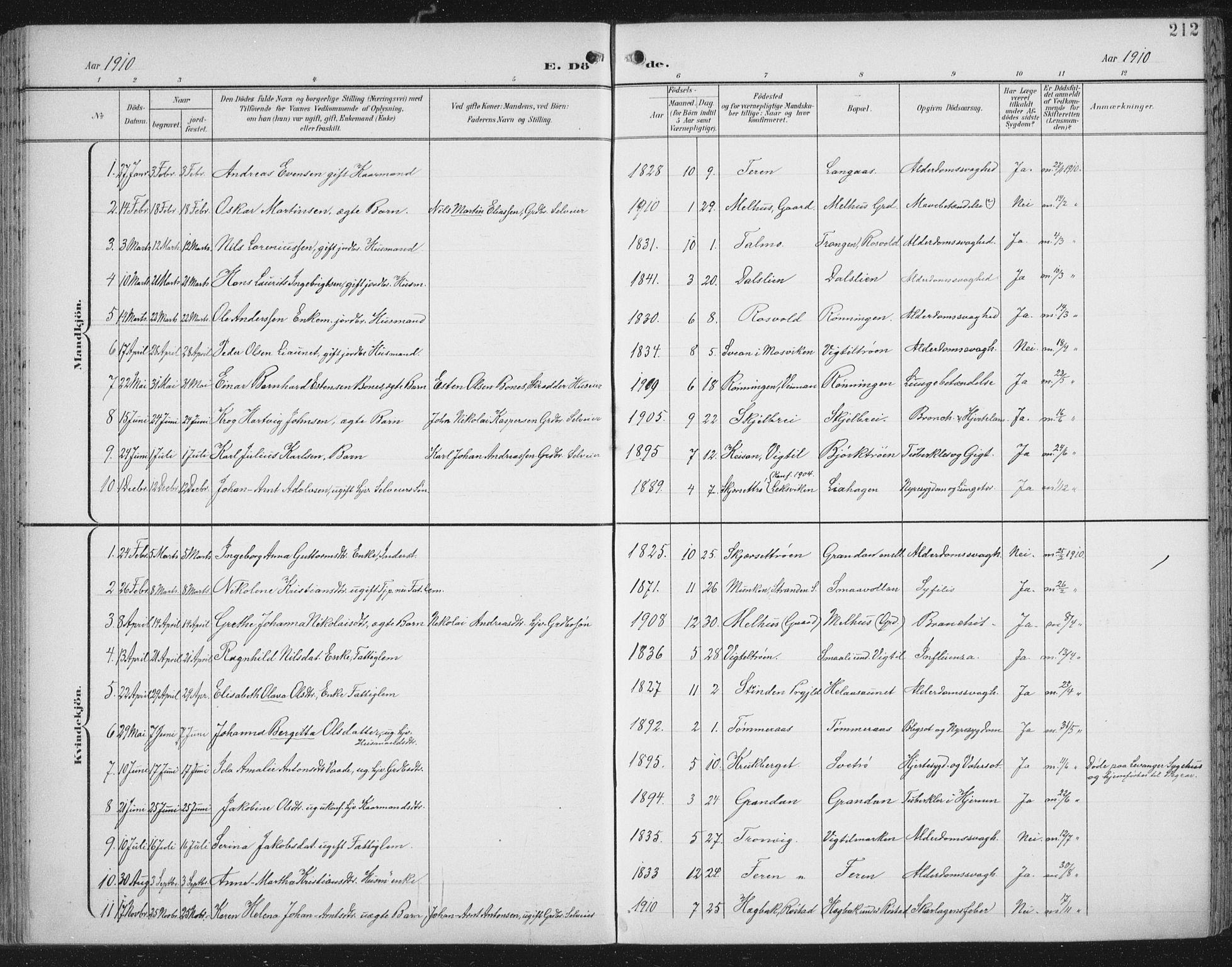 SAT, Ministerialprotokoller, klokkerbøker og fødselsregistre - Nord-Trøndelag, 701/L0011: Parish register (official) no. 701A11, 1899-1915, p. 212