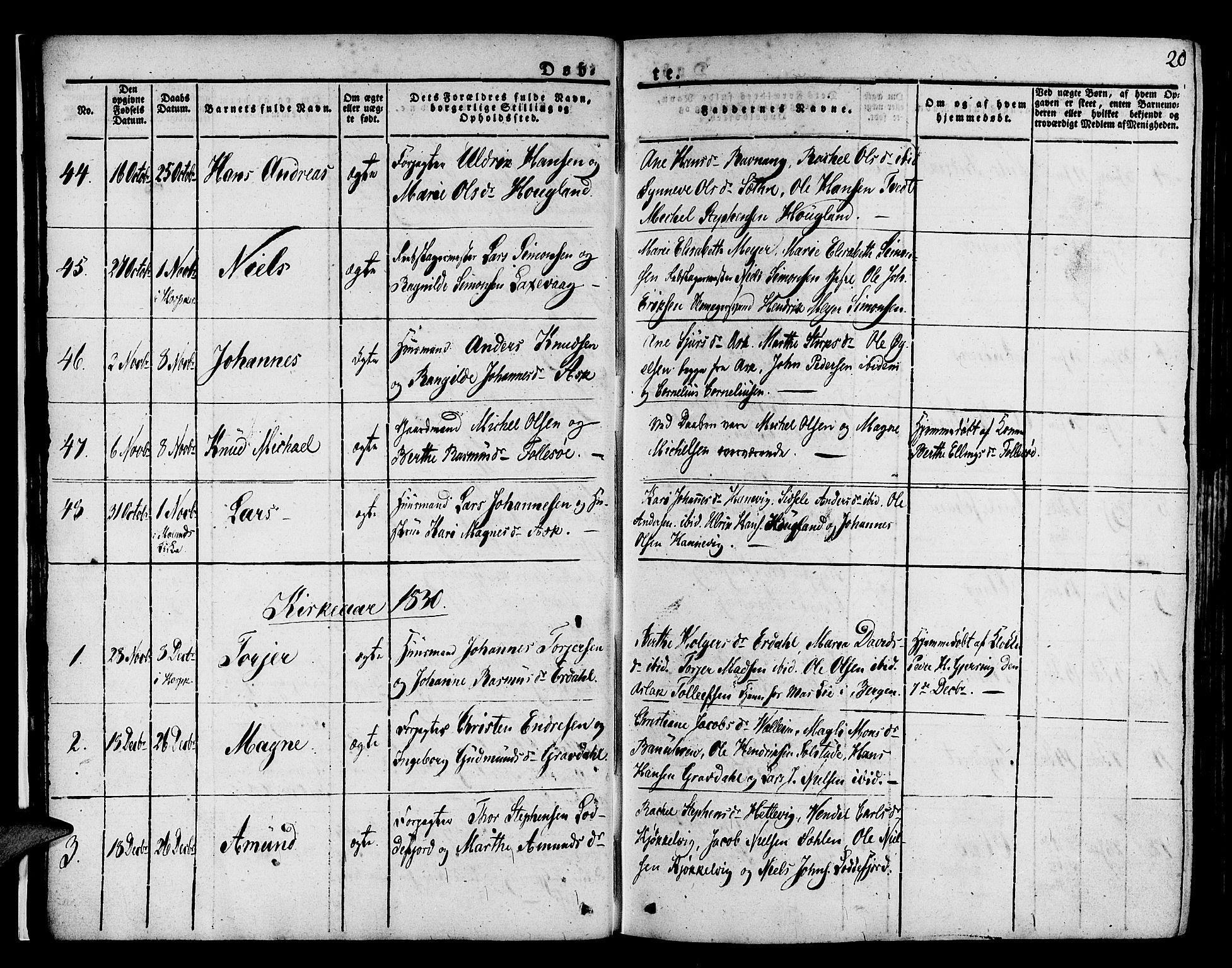 SAB, Askøy Sokneprestembete, H/Ha/Haa/Haaa/L0004: Parish register (official) no. A 4, 1825-1845, p. 20