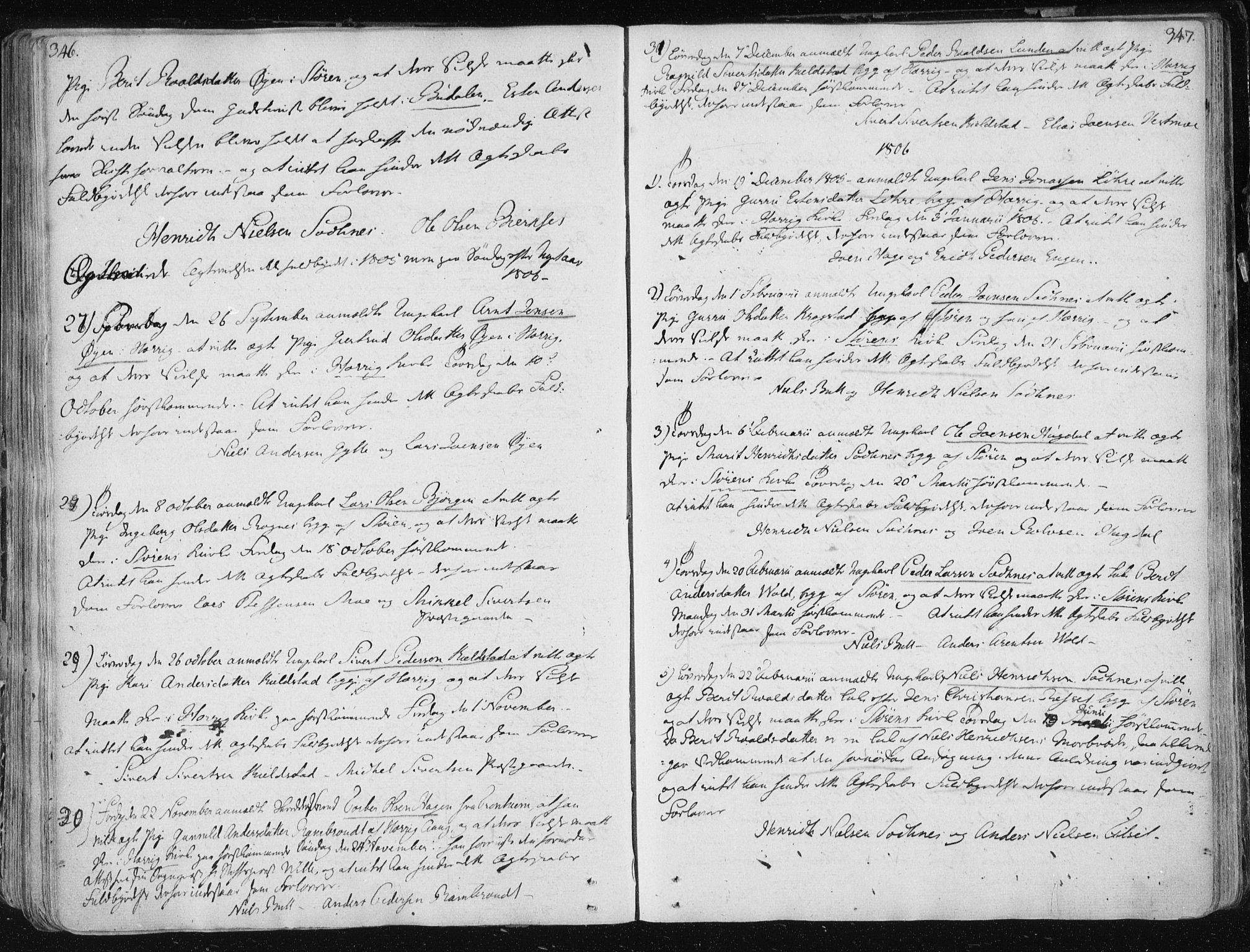 SAT, Ministerialprotokoller, klokkerbøker og fødselsregistre - Sør-Trøndelag, 687/L0992: Parish register (official) no. 687A03 /1, 1788-1815, p. 346-347