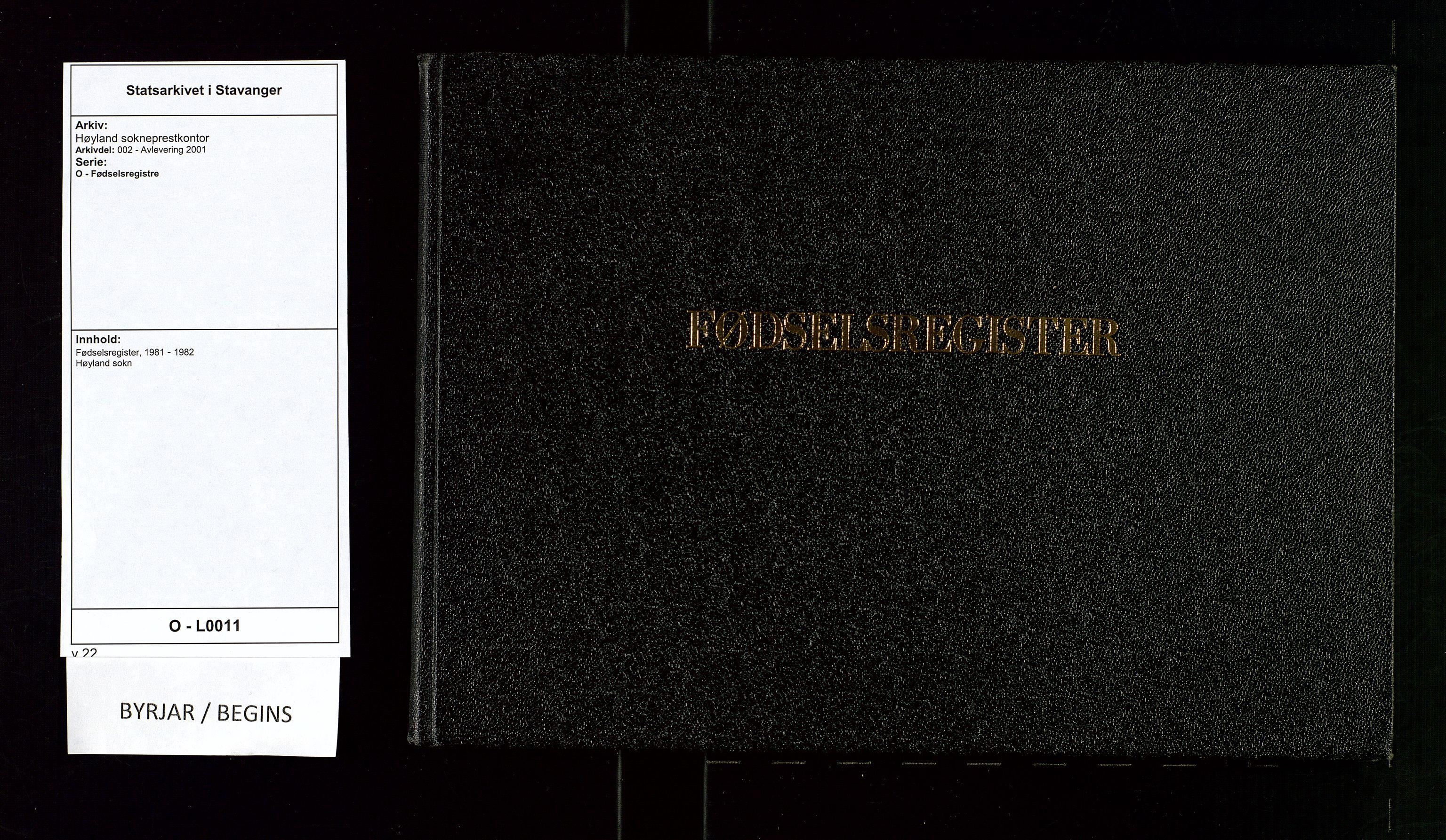 SAST, Høyland sokneprestkontor, O/L0011: Birth register no. 11, 1981-1982