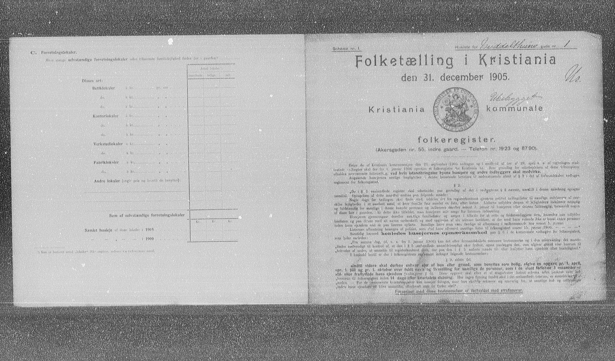 OBA, Municipal Census 1905 for Kristiania, 1905, p. 34310