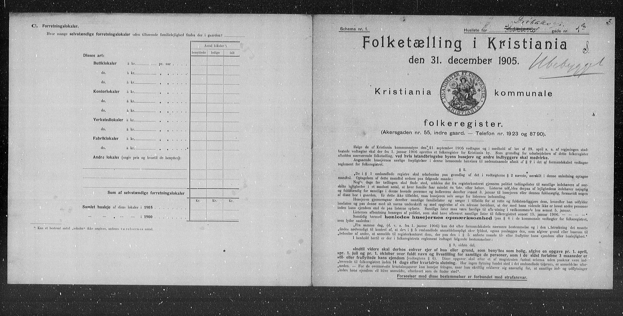 OBA, Municipal Census 1905 for Kristiania, 1905, p. 9082