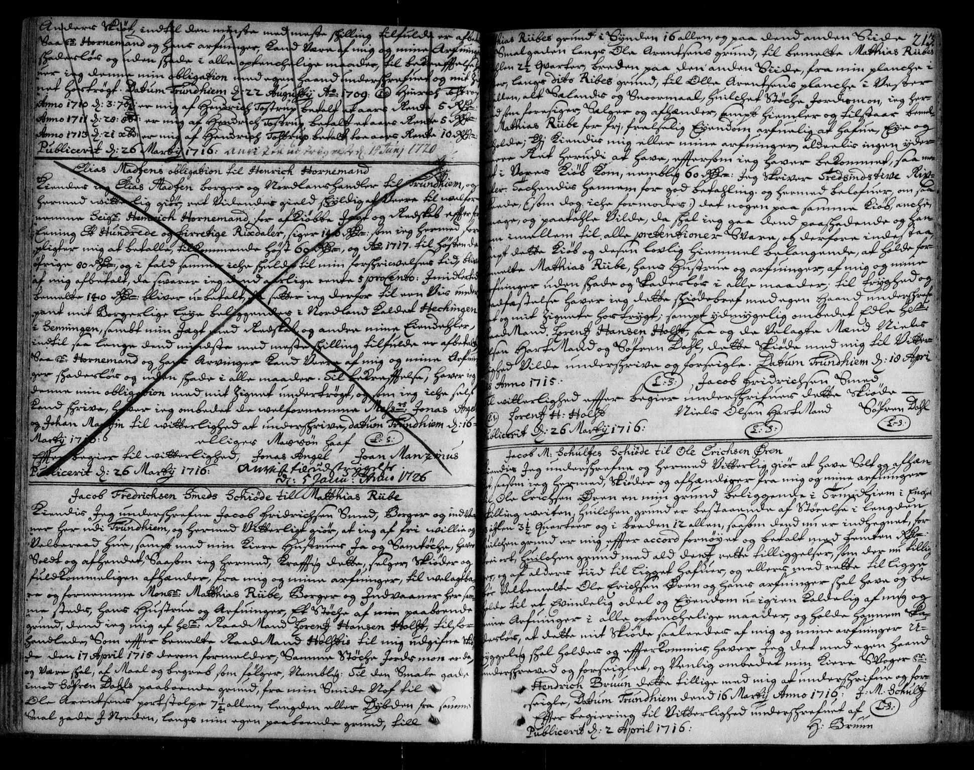 SAT, Trondheim byfogd, 2/2C/L0005: Mortgage book no. 3, 1709-1720, p. 213