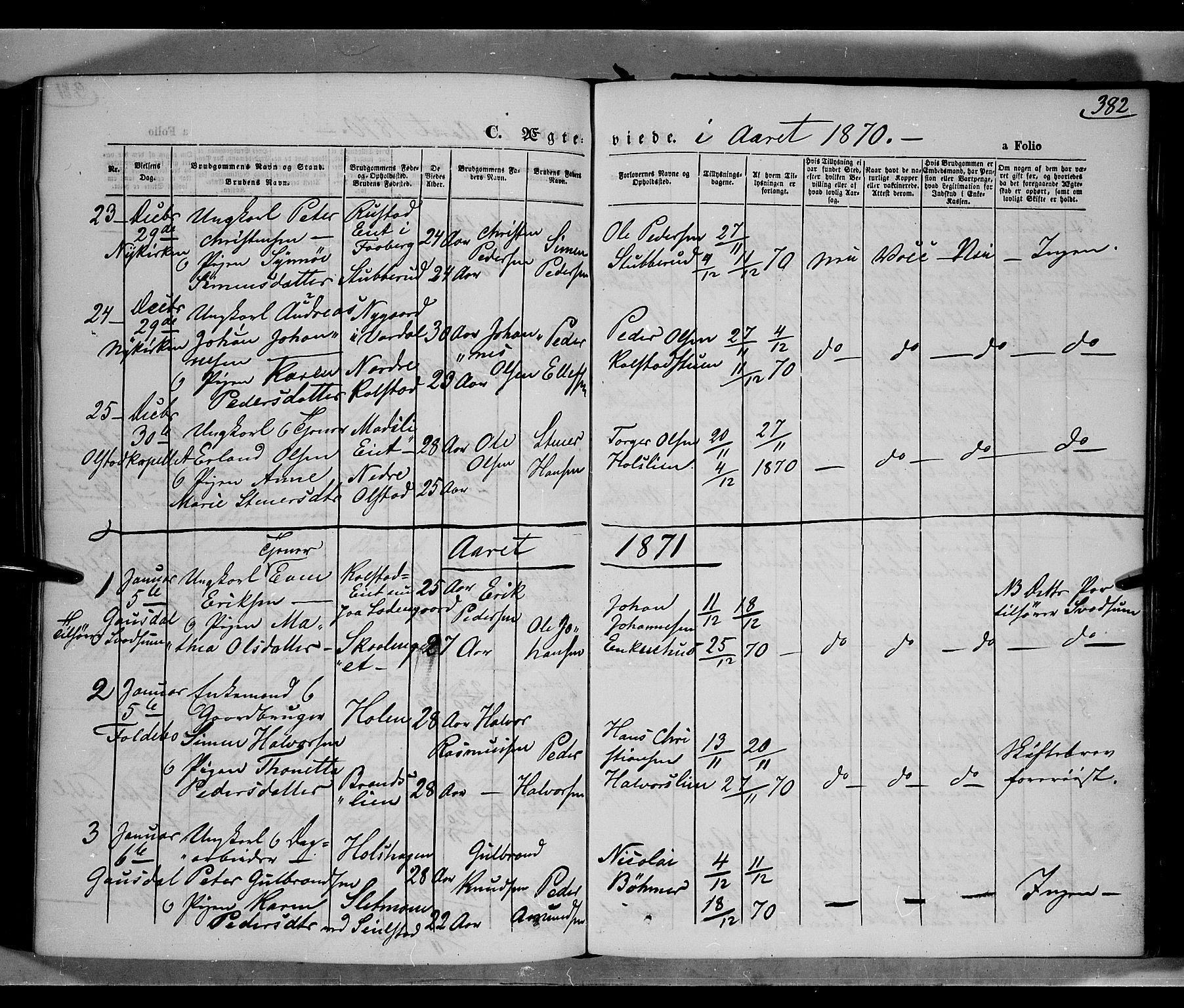 SAH, Gausdal prestekontor, Parish register (official) no. 9, 1862-1873, p. 382