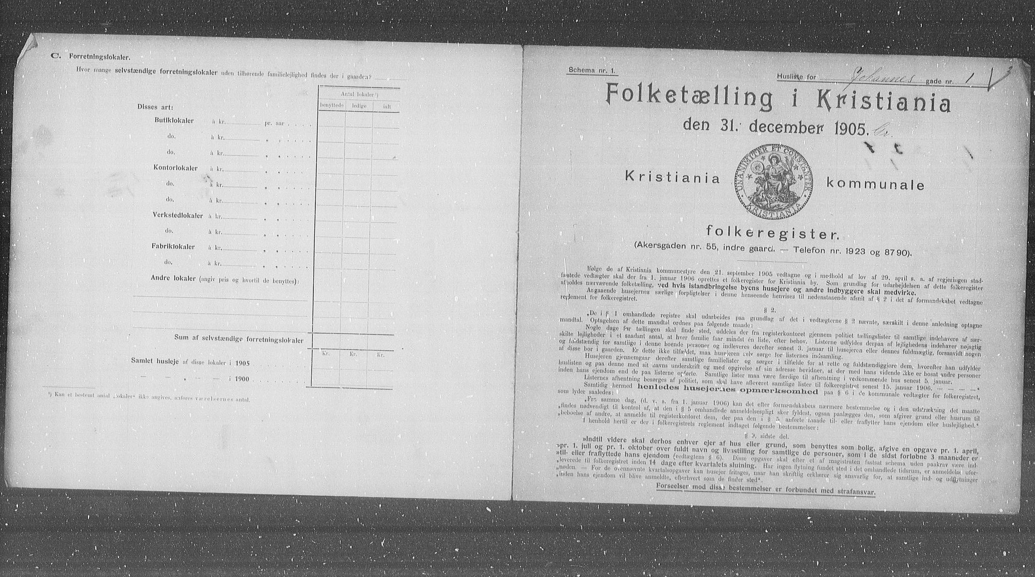 OBA, Municipal Census 1905 for Kristiania, 1905, p. 24720