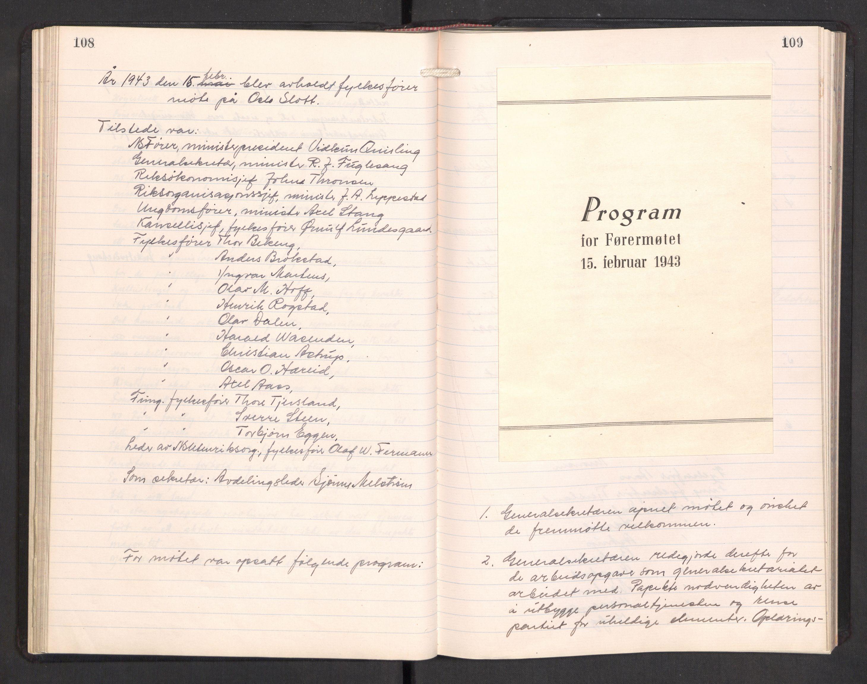 RA, Nasjonal Samling (NS) Generalsekretariat, A/L0117: NS Riks- og Rådsmøteprotokoll, 1934-1945, p. 108-109