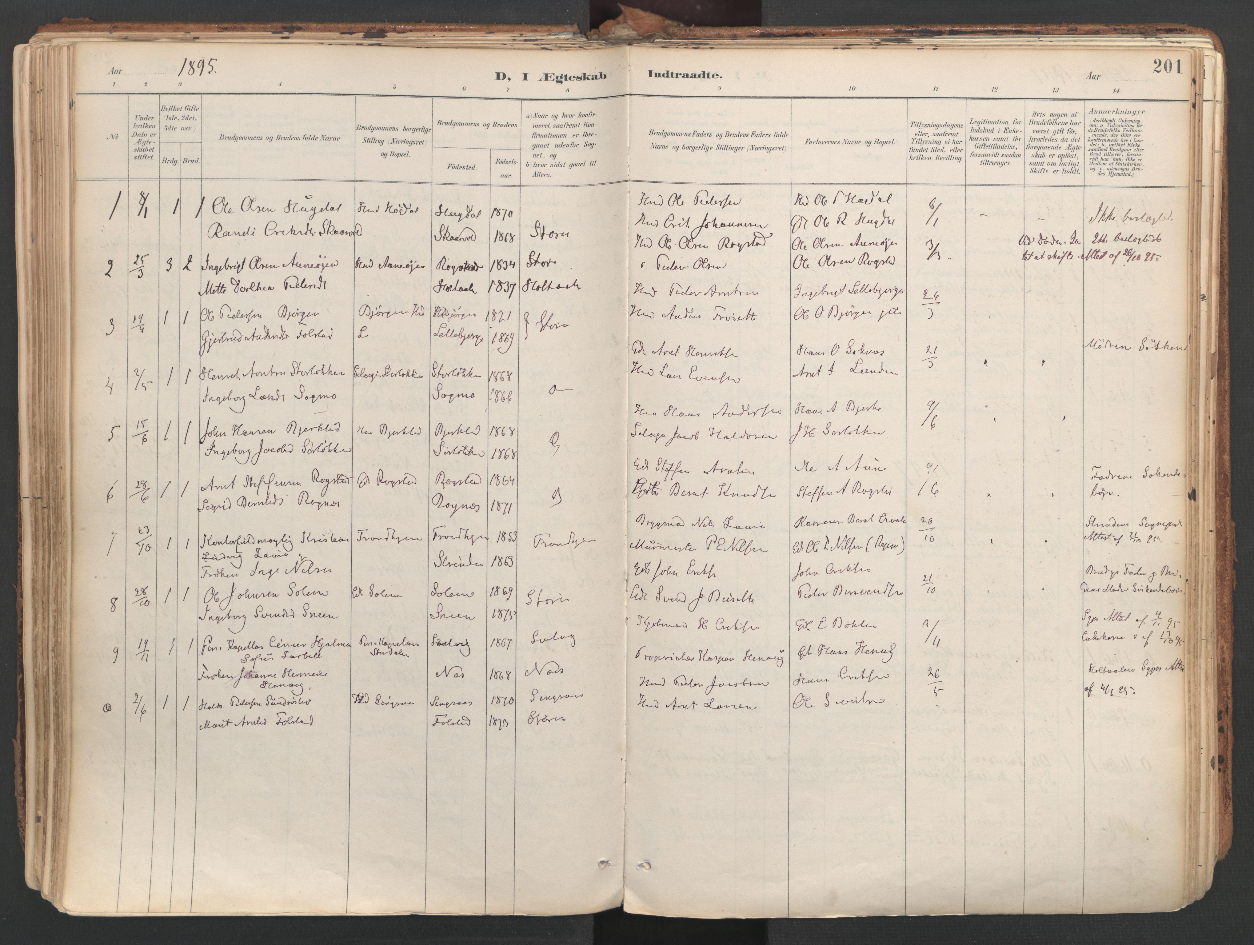 SAT, Ministerialprotokoller, klokkerbøker og fødselsregistre - Sør-Trøndelag, 687/L1004: Parish register (official) no. 687A10, 1891-1923, p. 201