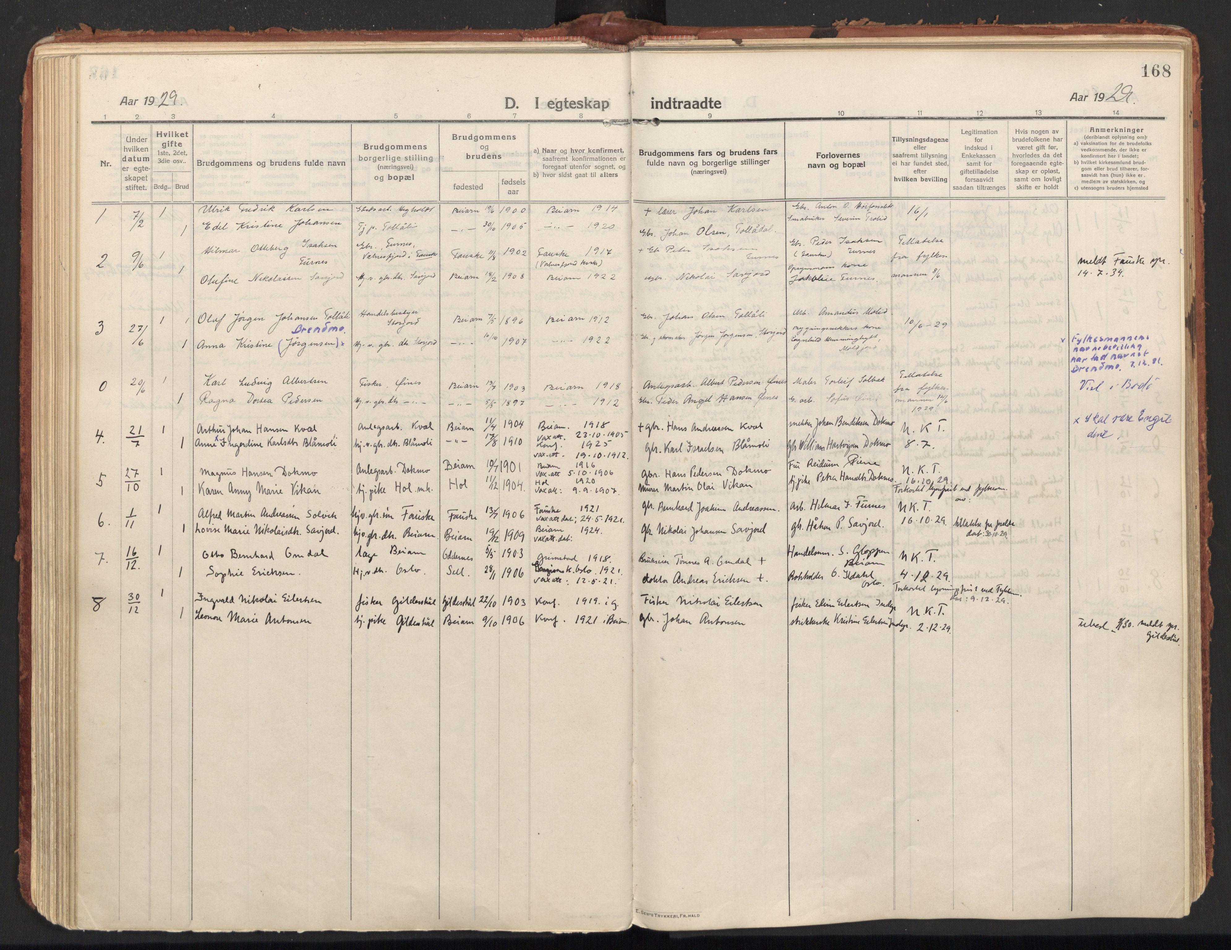 SAT, Ministerialprotokoller, klokkerbøker og fødselsregistre - Nordland, 846/L0650: Parish register (official) no. 846A08, 1916-1935, p. 168