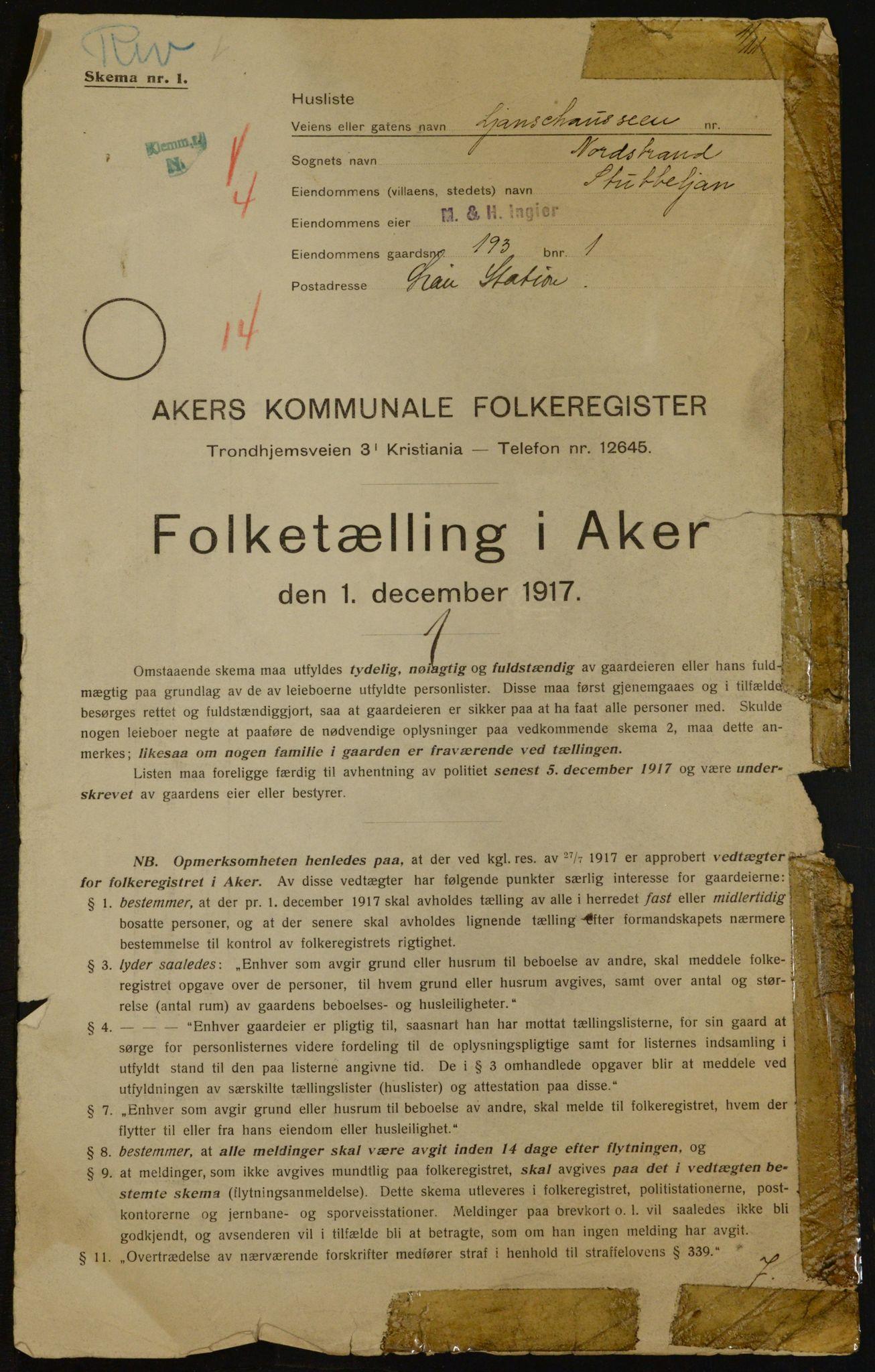 OBA, 1917 census for Aker, 1917, p. 16223