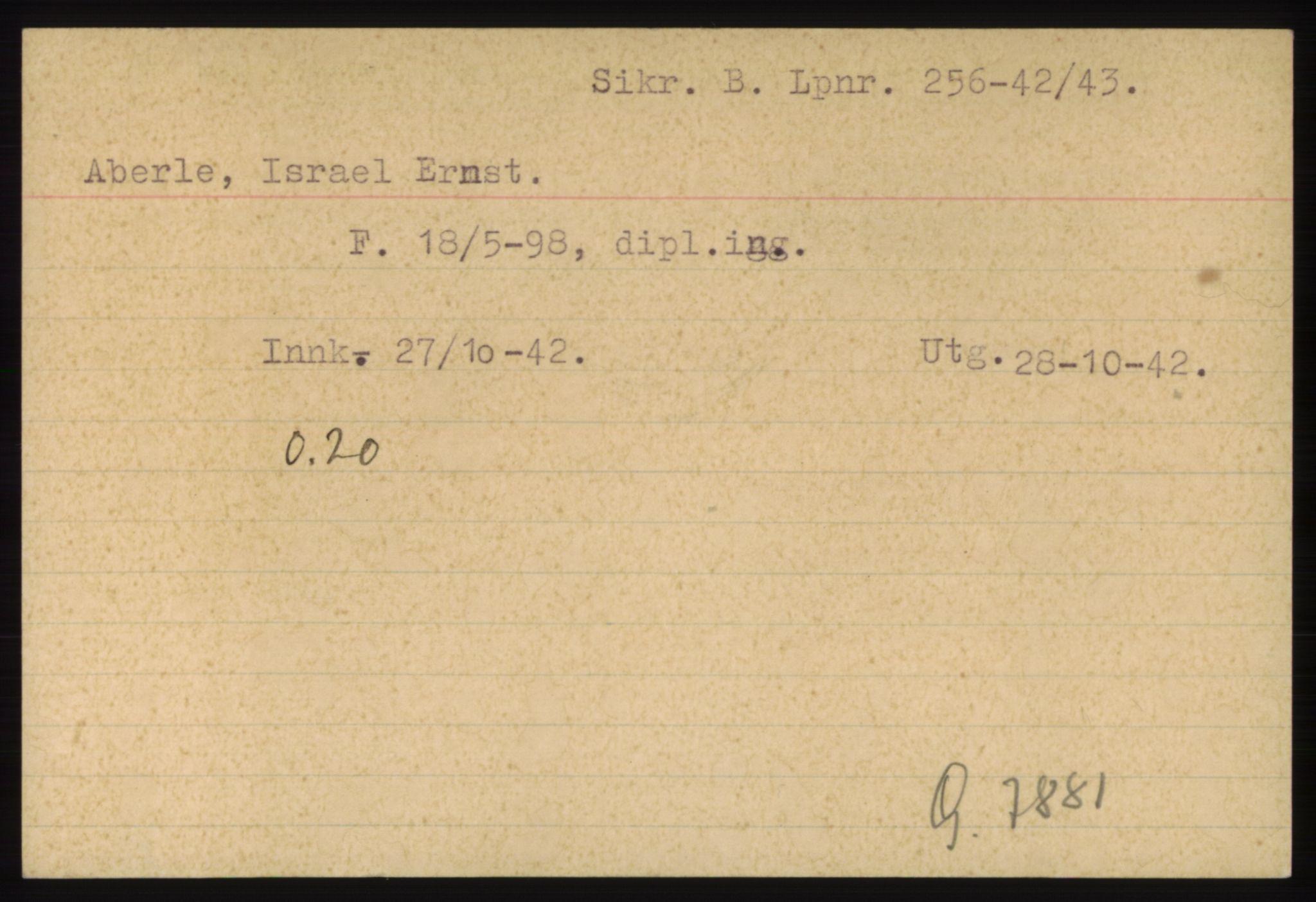 RA, Statspolitiet - Hovedkontoret / Osloavdelingen, C/Ck/Cke/L0002: Fangeregister A-F, 1941-1945, p. 1