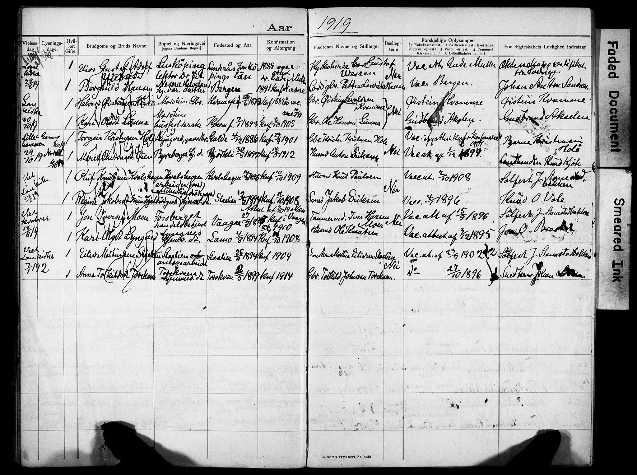 SAH, Lom prestekontor, N/L0001: Banns register no. 1, 1904-1922