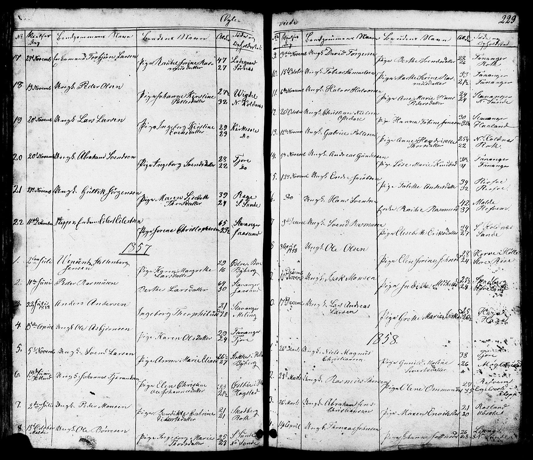 SAST, Håland sokneprestkontor, 30BB/L0002: Parish register (copy) no. B 2, 1845-1872, p. 229