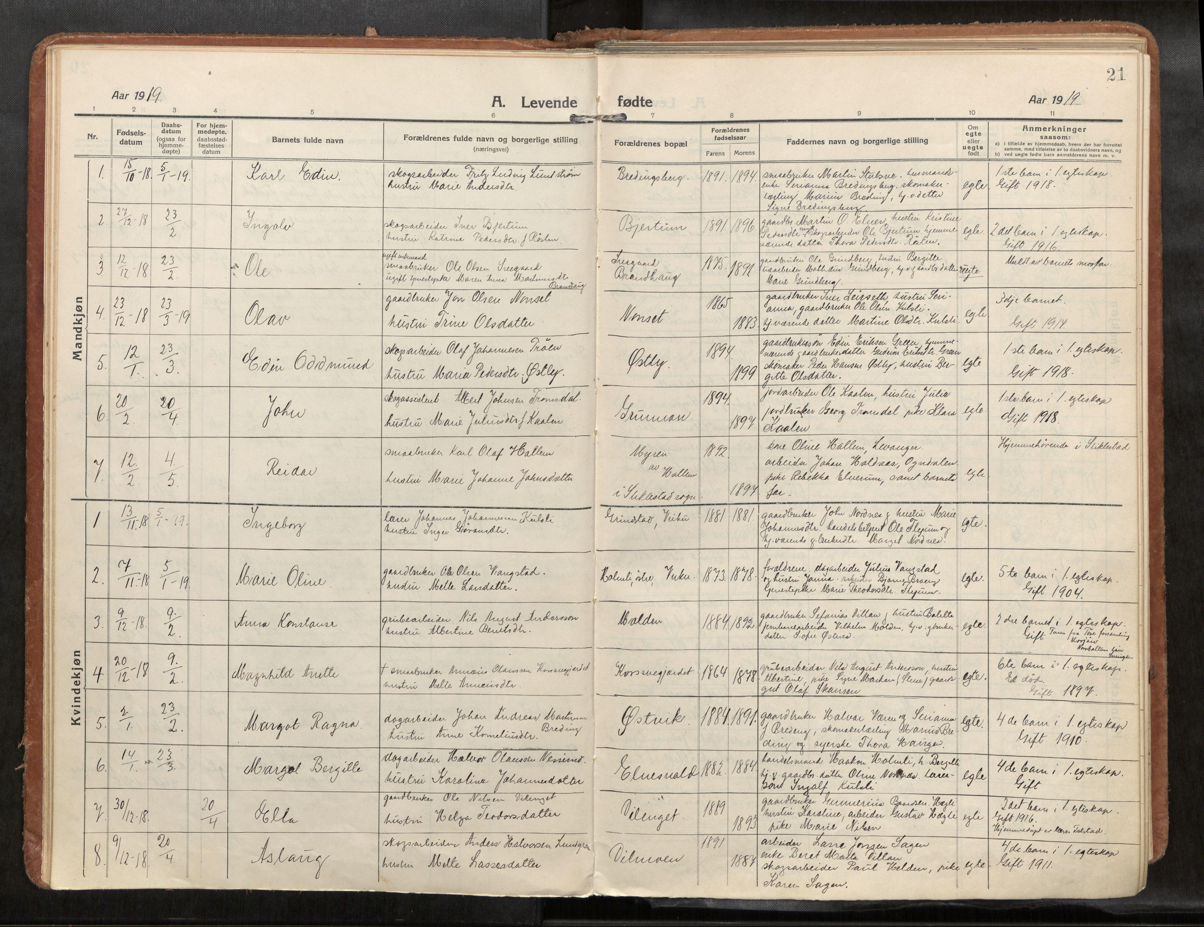 SAT, Verdal sokneprestkontor*, Parish register (official) no. 1, 1916-1928, p. 21