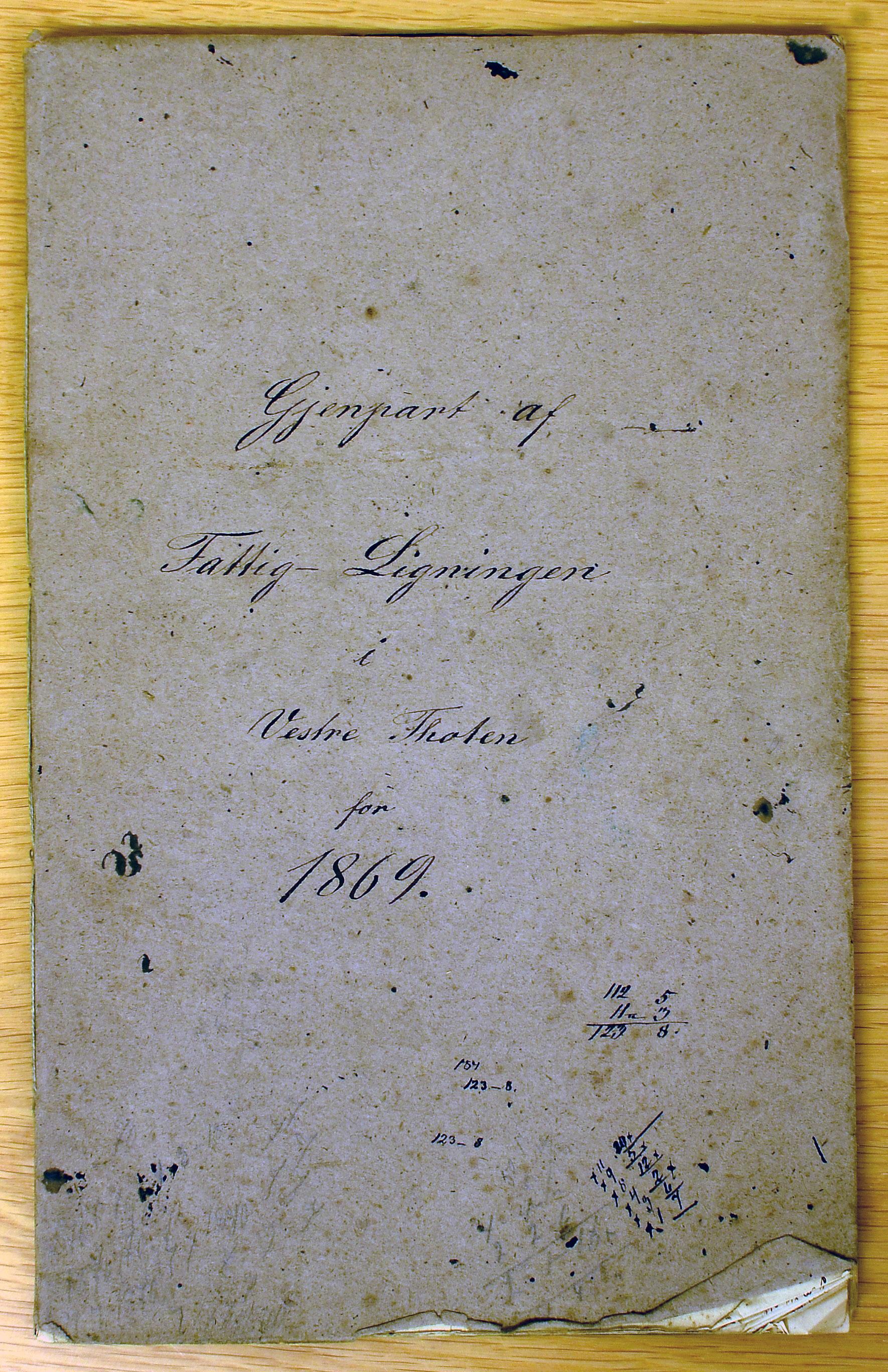 KVT, Vestre Toten kommunearkiv*, -: Fattigligning for Vestre Toten prestegjeld, 1869, p. 1