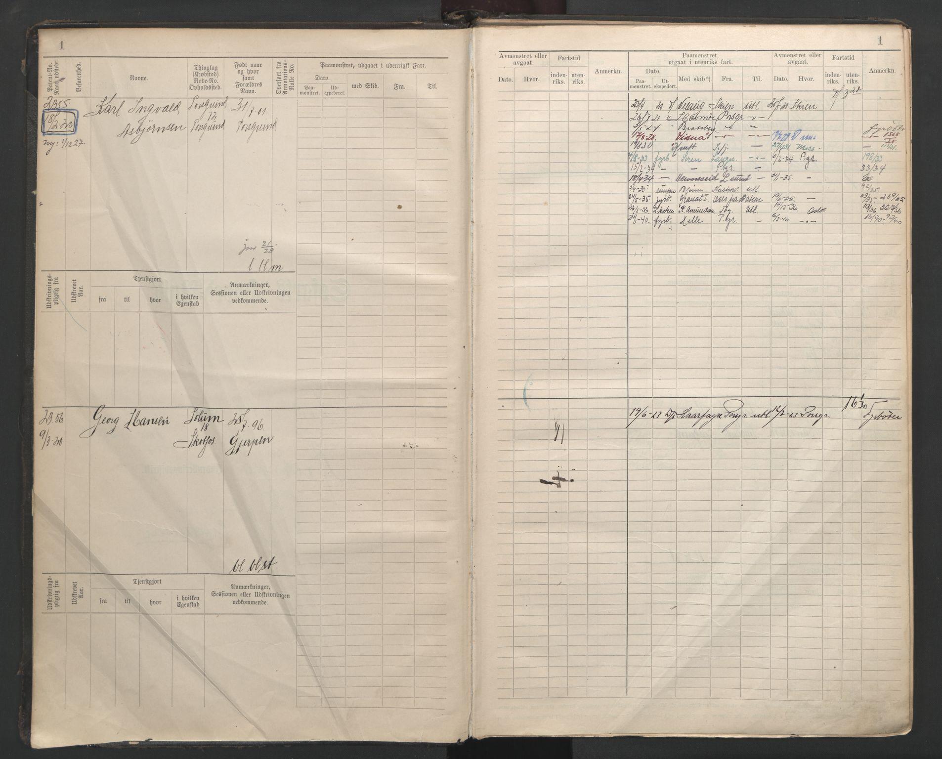 SAKO, Porsgrunn innrulleringskontor, F/Fb/L0007: Annotasjonsrulle, 1926-1948, p. 1