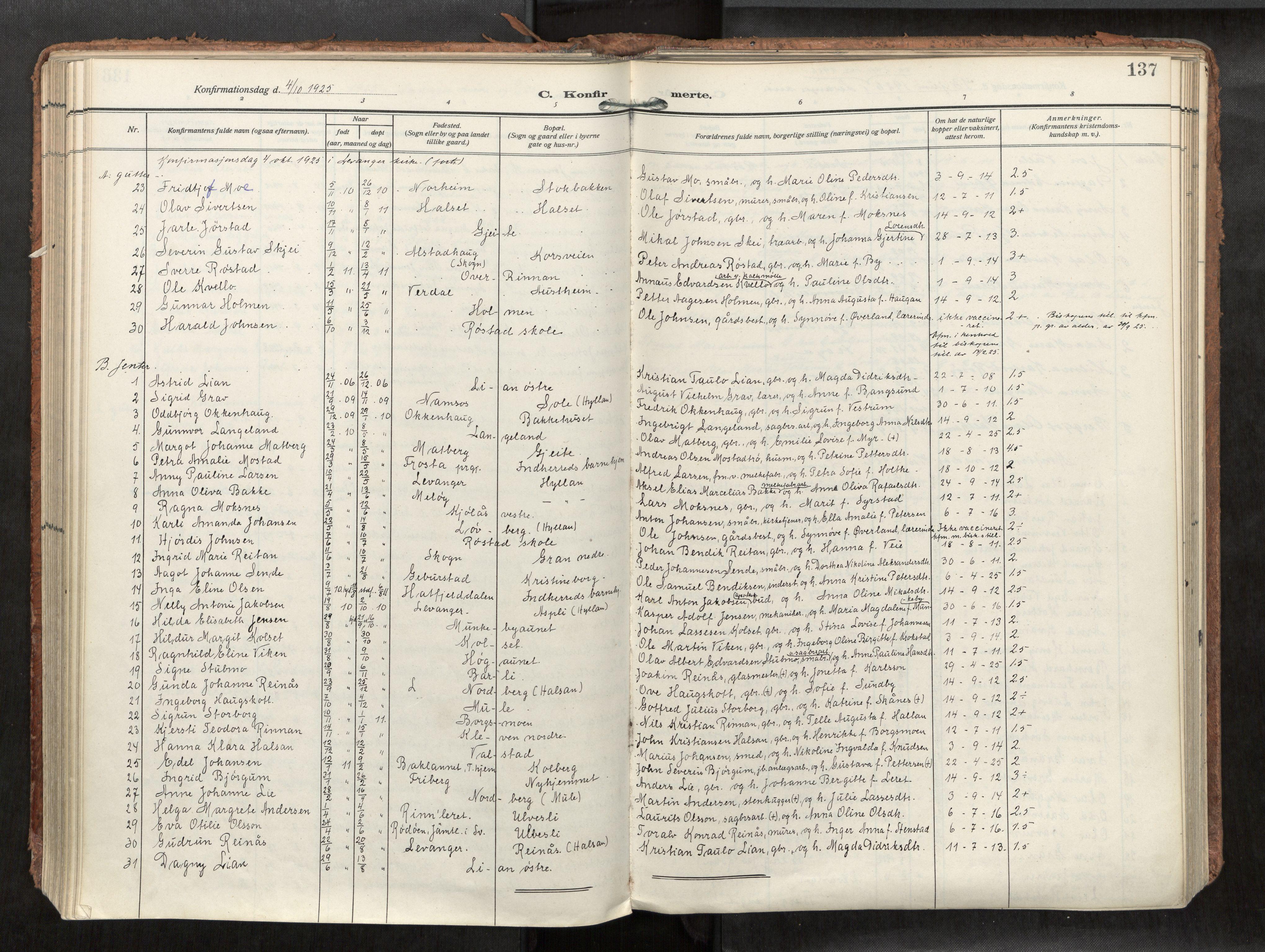 SAT, Levanger sokneprestkontor*, Parish register (official) no. 1, 1912-1935, p. 137