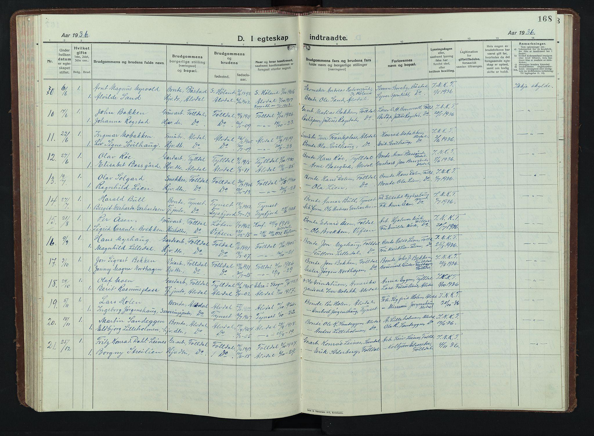 SAH, Alvdal prestekontor, Parish register (copy) no. 7, 1924-1945, p. 168