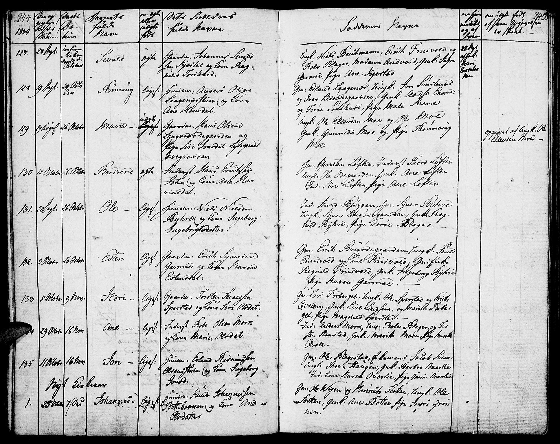 SAH, Lom prestekontor, K/L0005: Parish register (official) no. 5, 1825-1837, p. 244-245