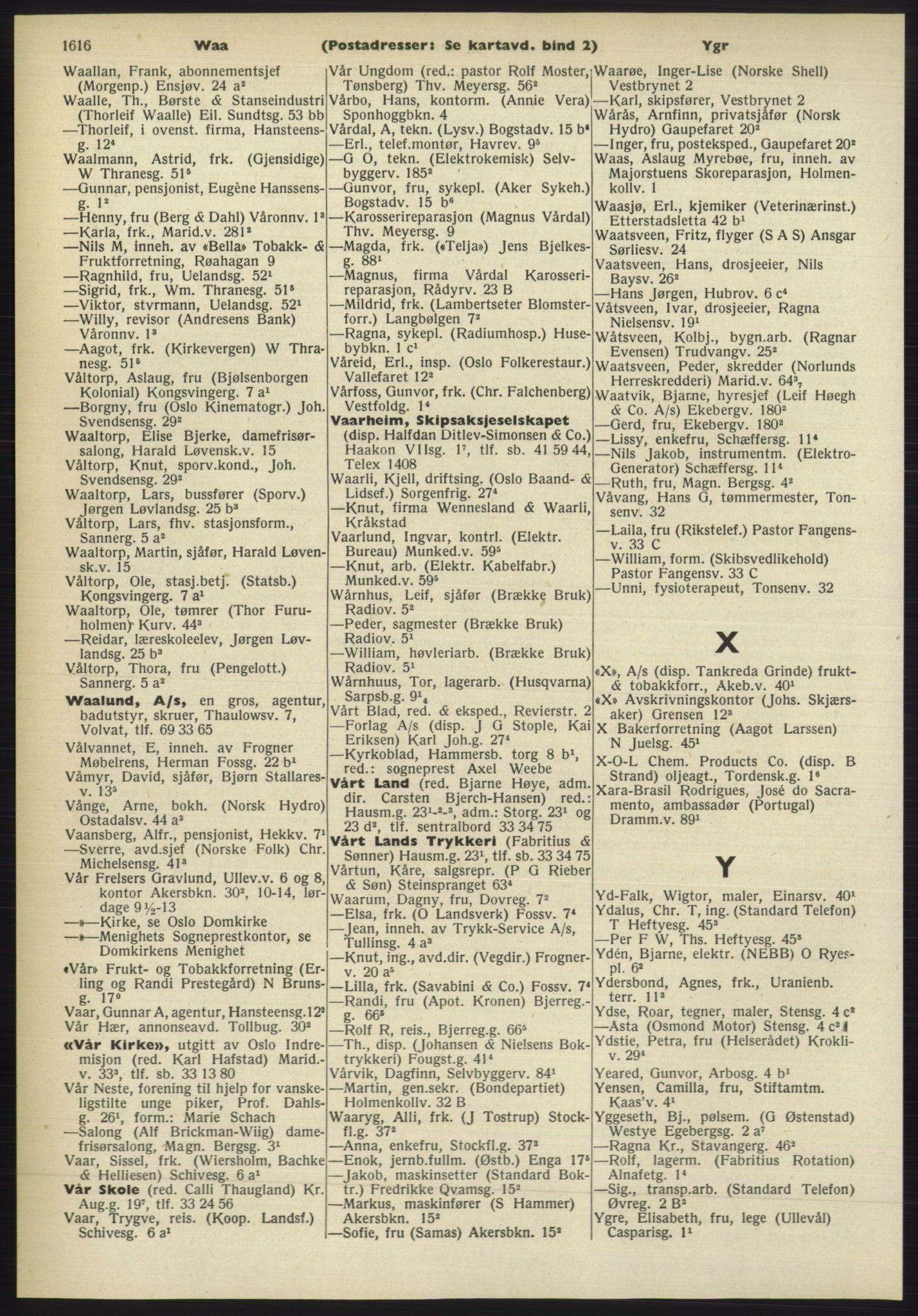 PUBL, Kristiania/Oslo adressebok, 1960-1961, p. 1616