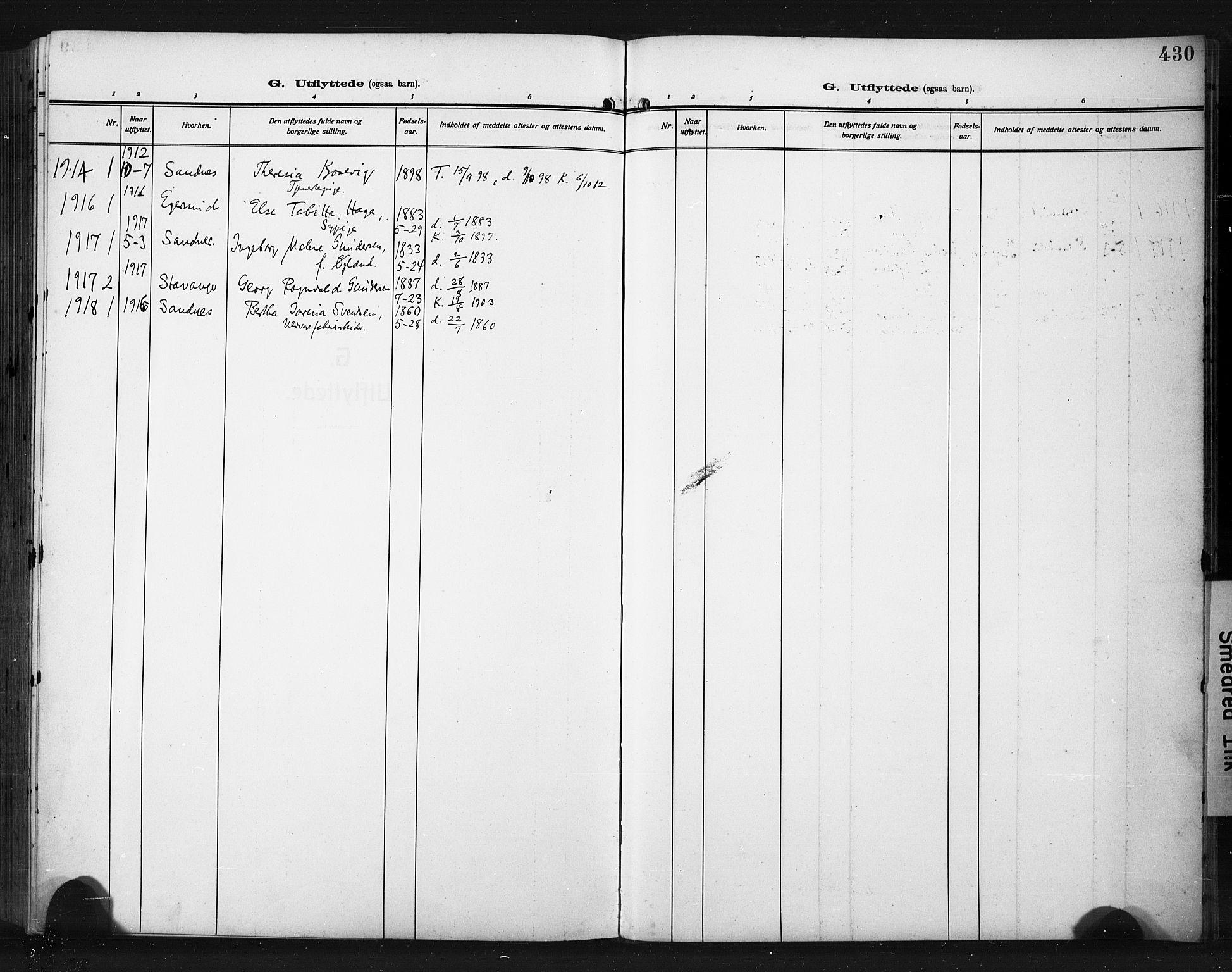 SAST, Høyland sokneprestkontor, 30BA/L0017: Parish register (official) no. A 15, 1912-1924, p. 430
