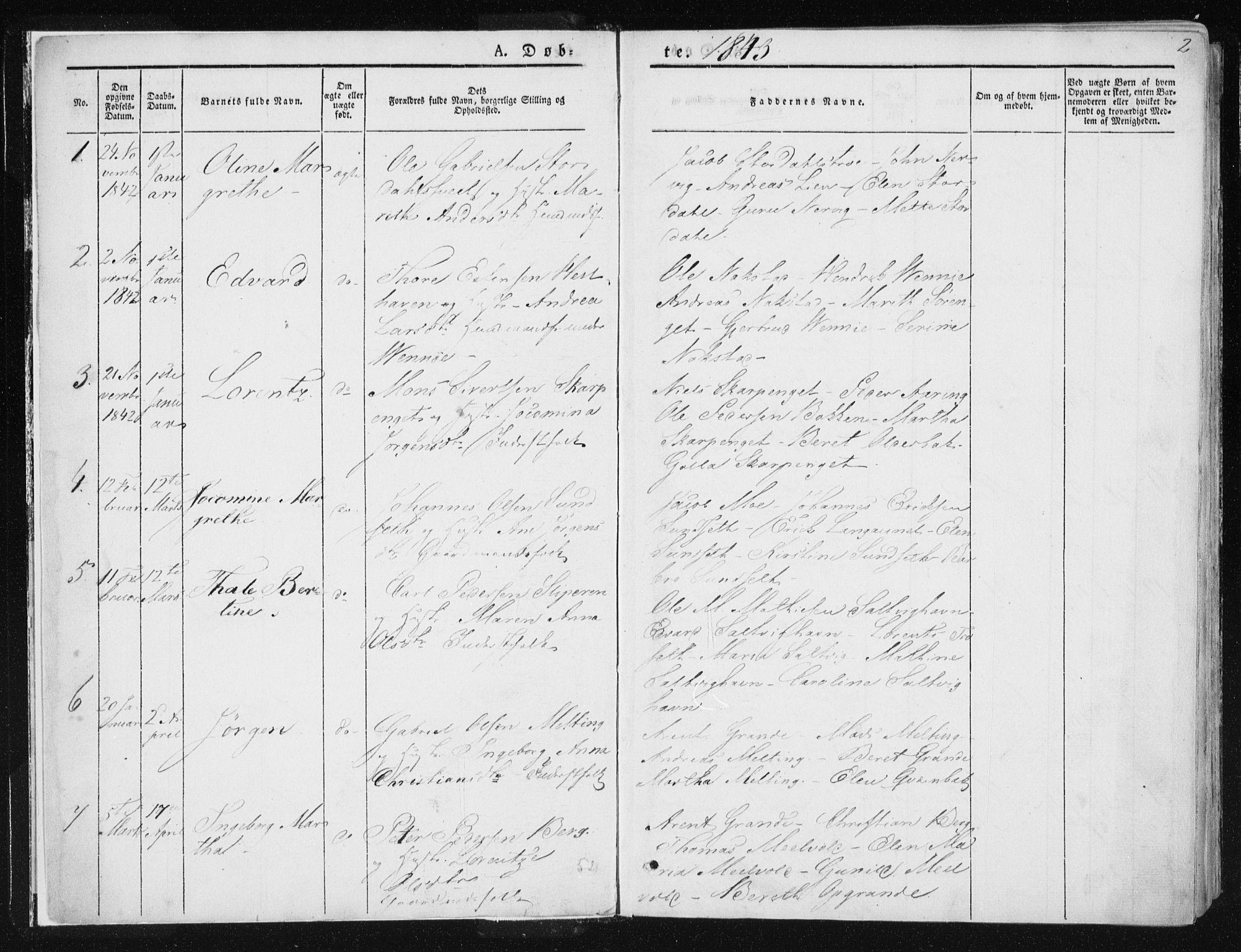 SAT, Ministerialprotokoller, klokkerbøker og fødselsregistre - Nord-Trøndelag, 733/L0323: Parish register (official) no. 733A02, 1843-1870, p. 2