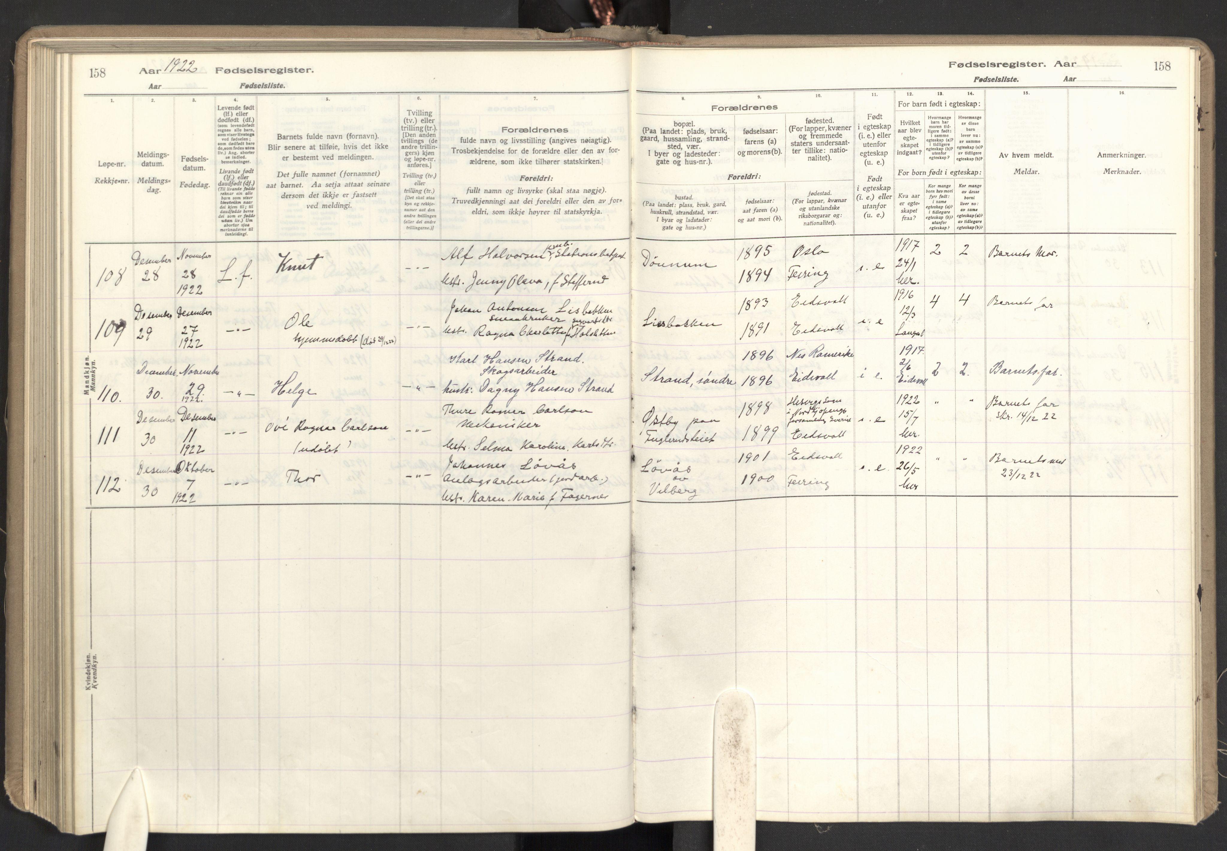 SAO, Eidsvoll prestekontor Kirkebøker, Birth register no. I 1, 1916-1924, p. 158
