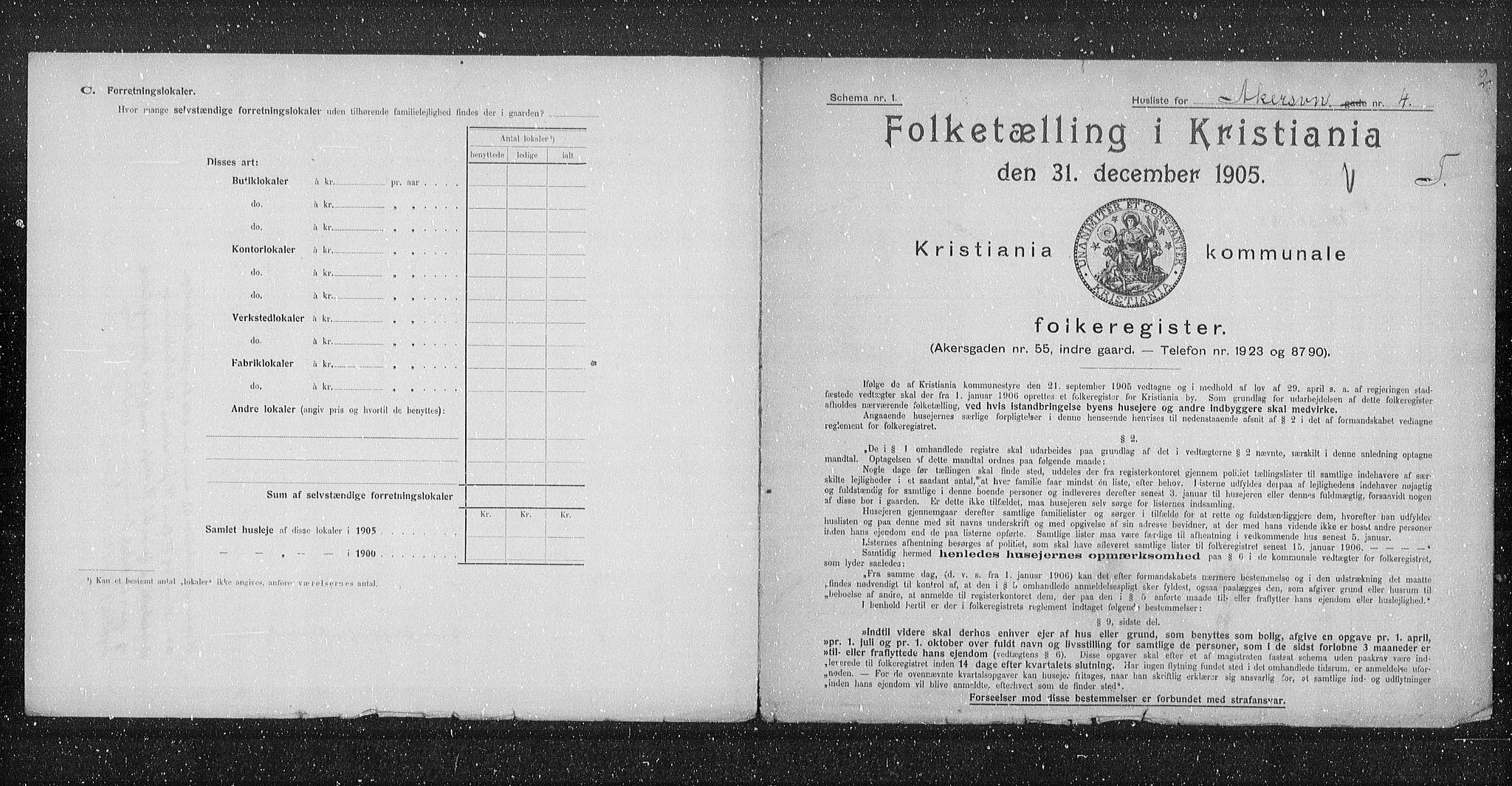 OBA, Municipal Census 1905 for Kristiania, 1905, p. 456