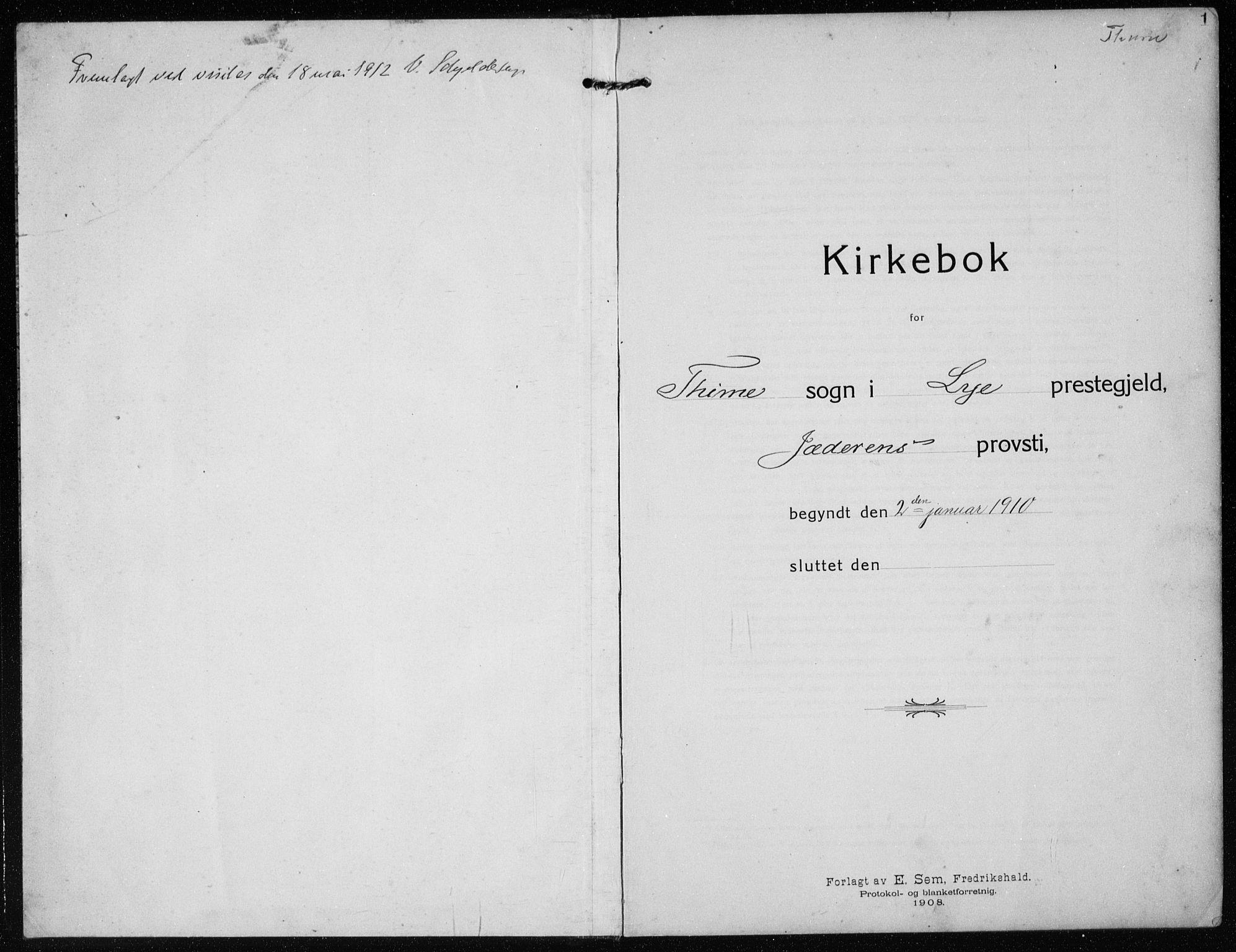 SAST, Time sokneprestkontor, 30BB/L0001: Parish register (copy) no. B 1, 1910-1932, p. 1