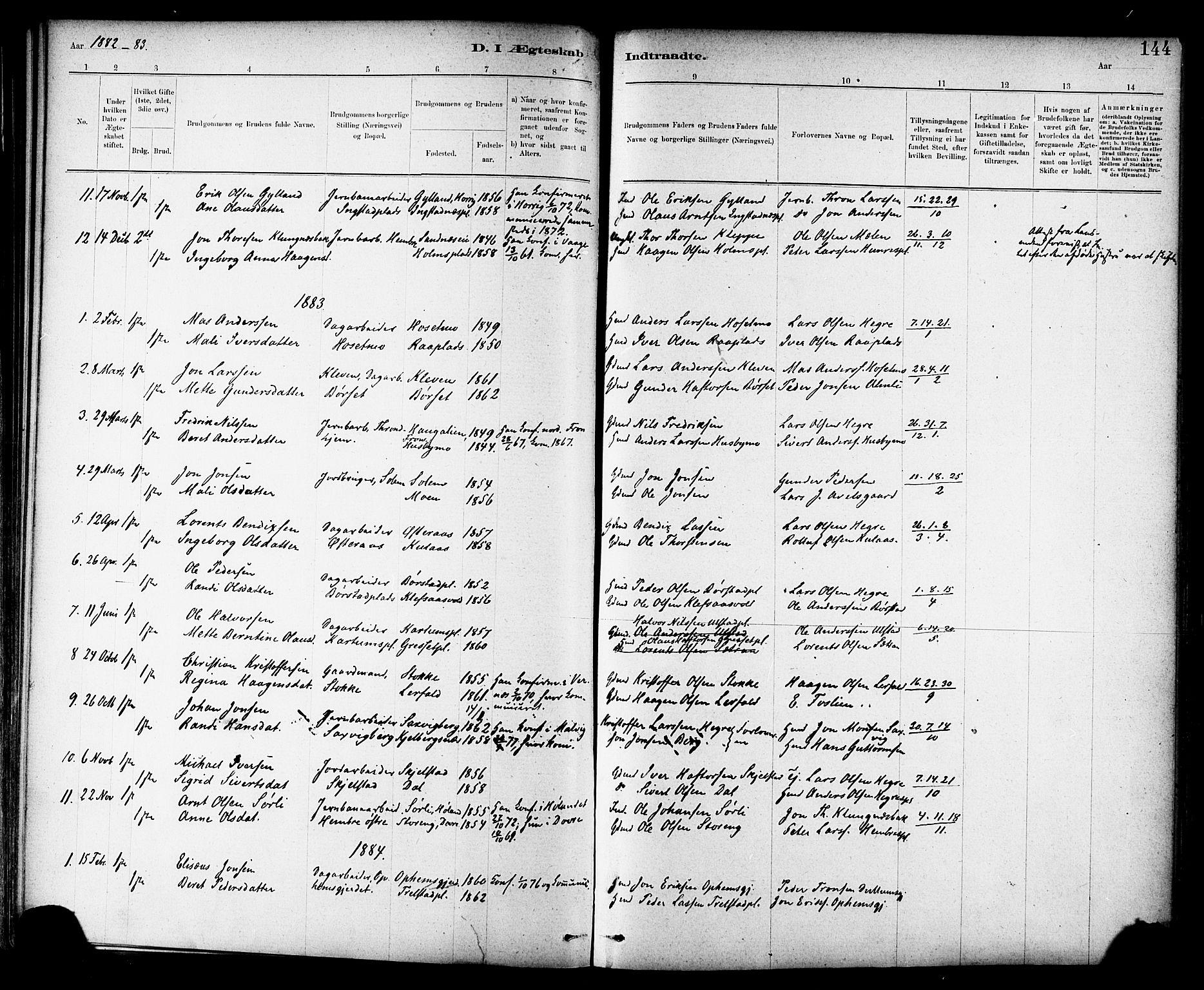 SAT, Ministerialprotokoller, klokkerbøker og fødselsregistre - Nord-Trøndelag, 703/L0030: Parish register (official) no. 703A03, 1880-1892, p. 144