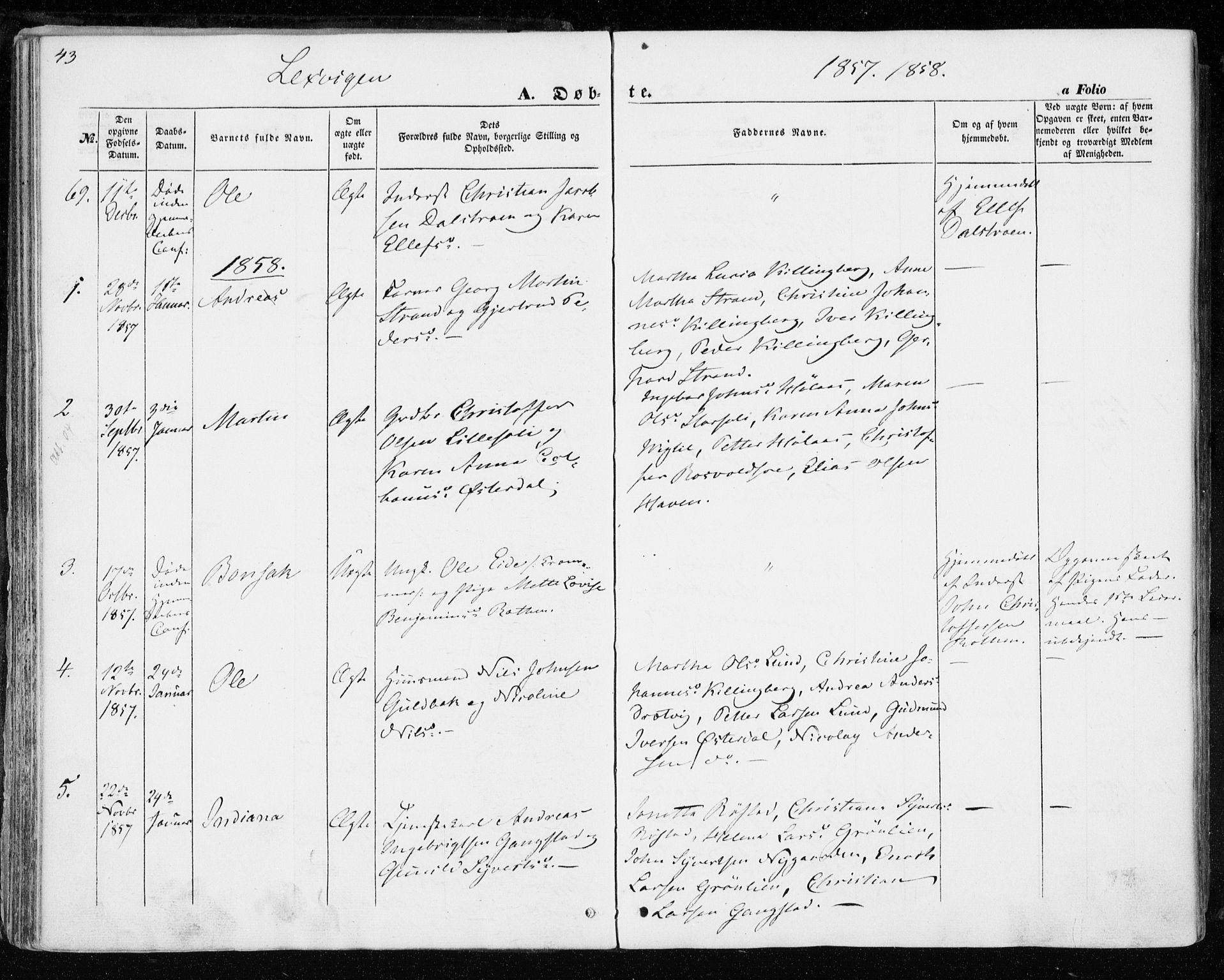 SAT, Ministerialprotokoller, klokkerbøker og fødselsregistre - Nord-Trøndelag, 701/L0008: Parish register (official) no. 701A08 /1, 1854-1863, p. 43