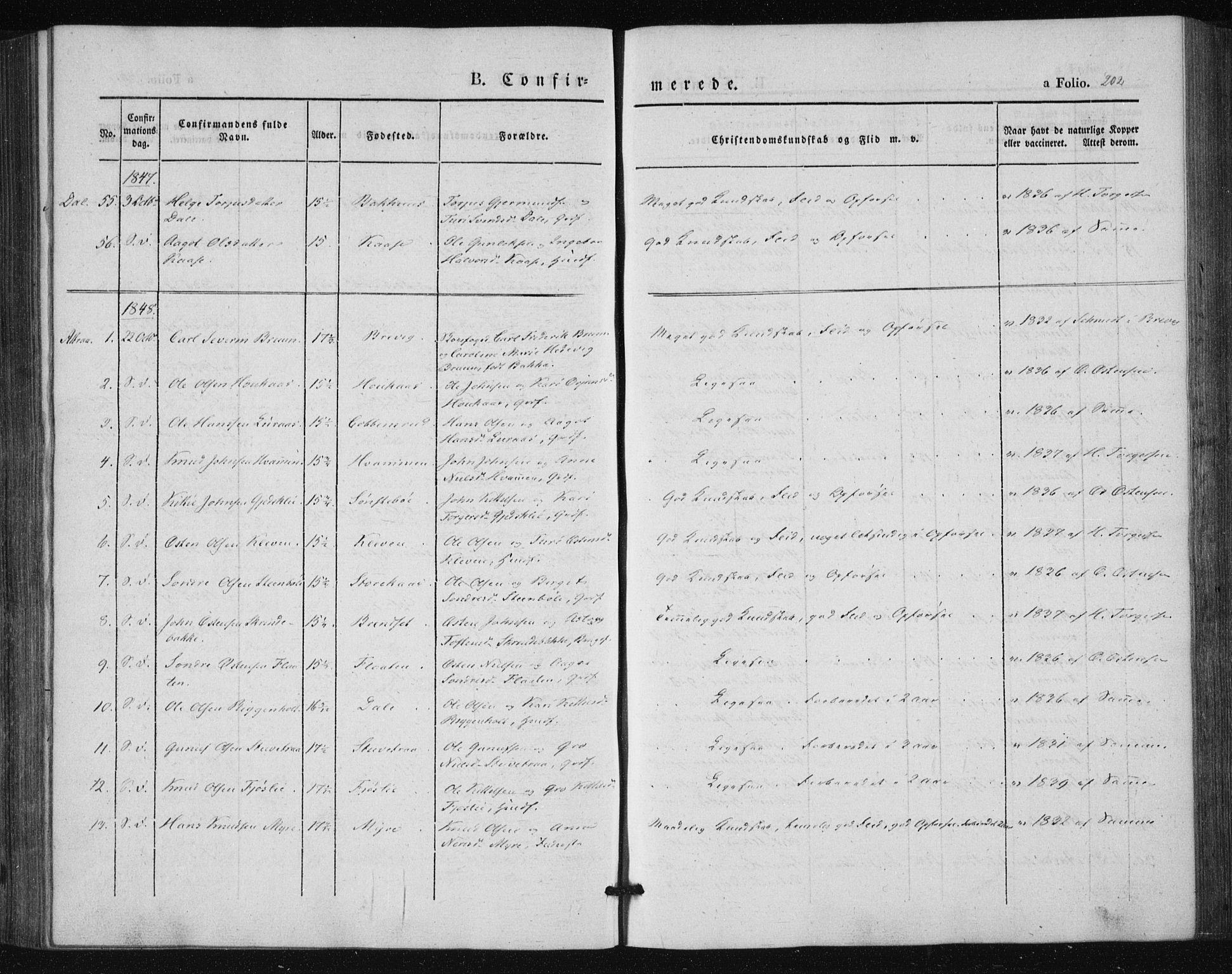 SAKO, Tinn kirkebøker, F/Fa/L0005: Parish register (official) no. I 5, 1844-1856, p. 202