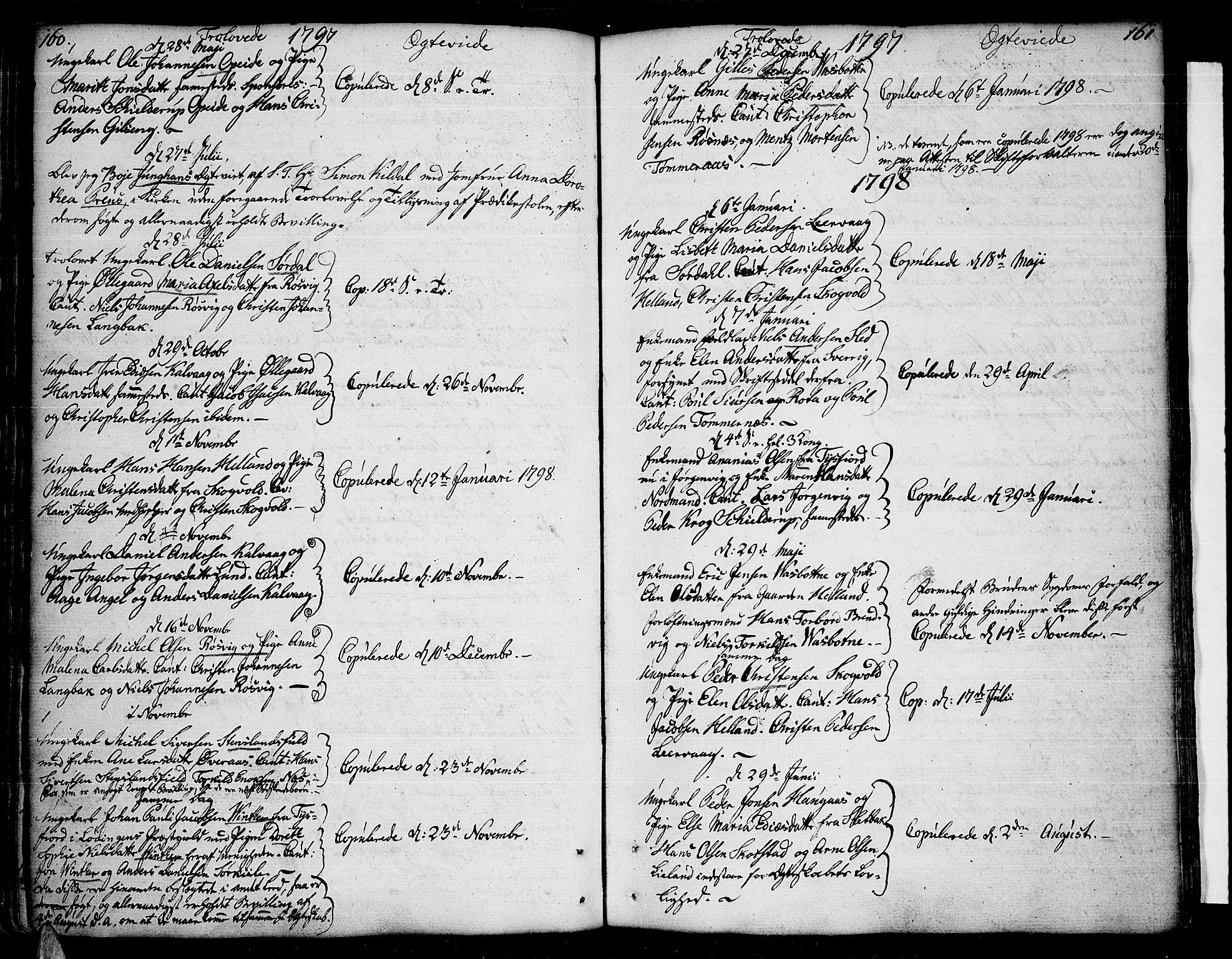 SAT, Ministerialprotokoller, klokkerbøker og fødselsregistre - Nordland, 859/L0841: Parish register (official) no. 859A01, 1766-1821, p. 160-161