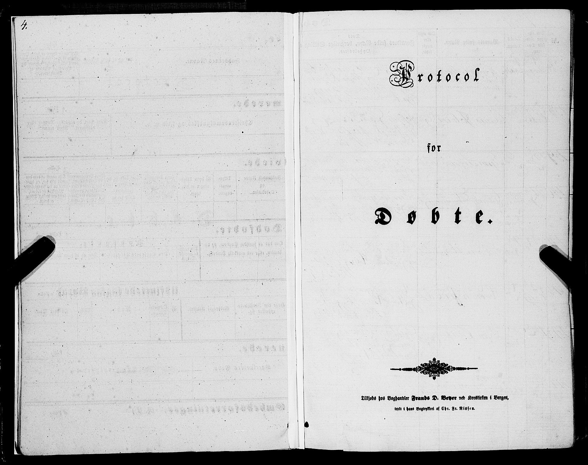 SAB, Domkirken Sokneprestembete, H/Haa/L0020: Parish register (official) no. B 3, 1851-1859, p. 4