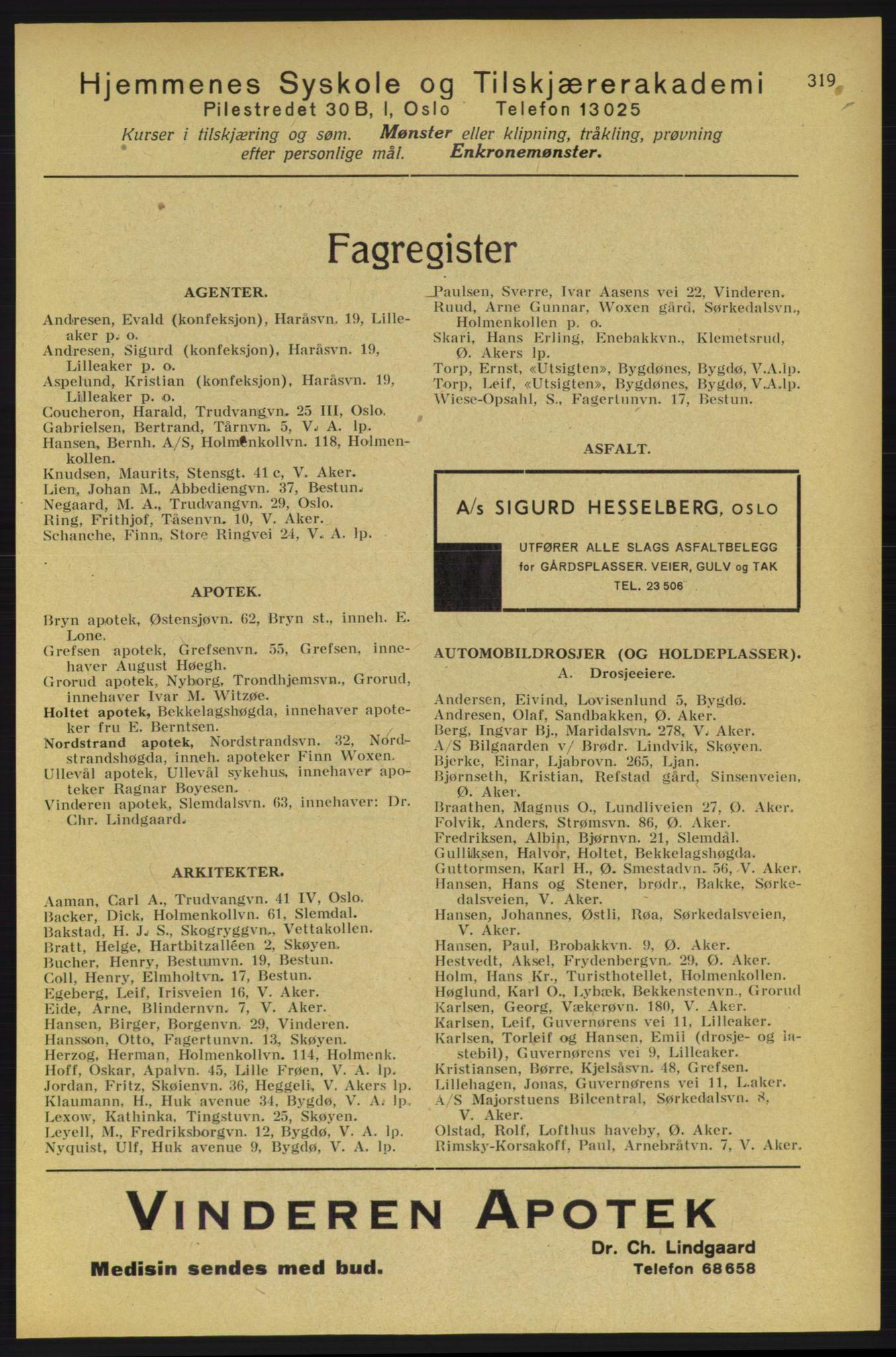 RA, Aker adressebok/adressekalender (publikasjon)*, 1934-1935, p. 319