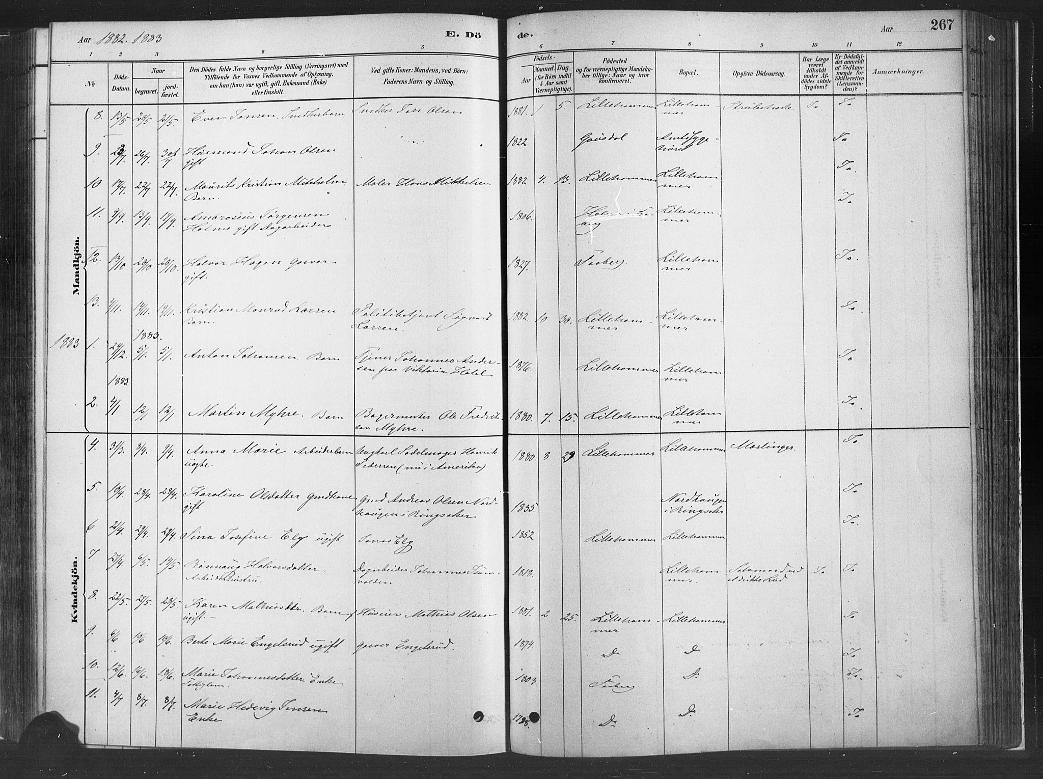 SAH, Fåberg prestekontor, H/Ha/Haa/L0010: Parish register (official) no. 10, 1879-1900, p. 267