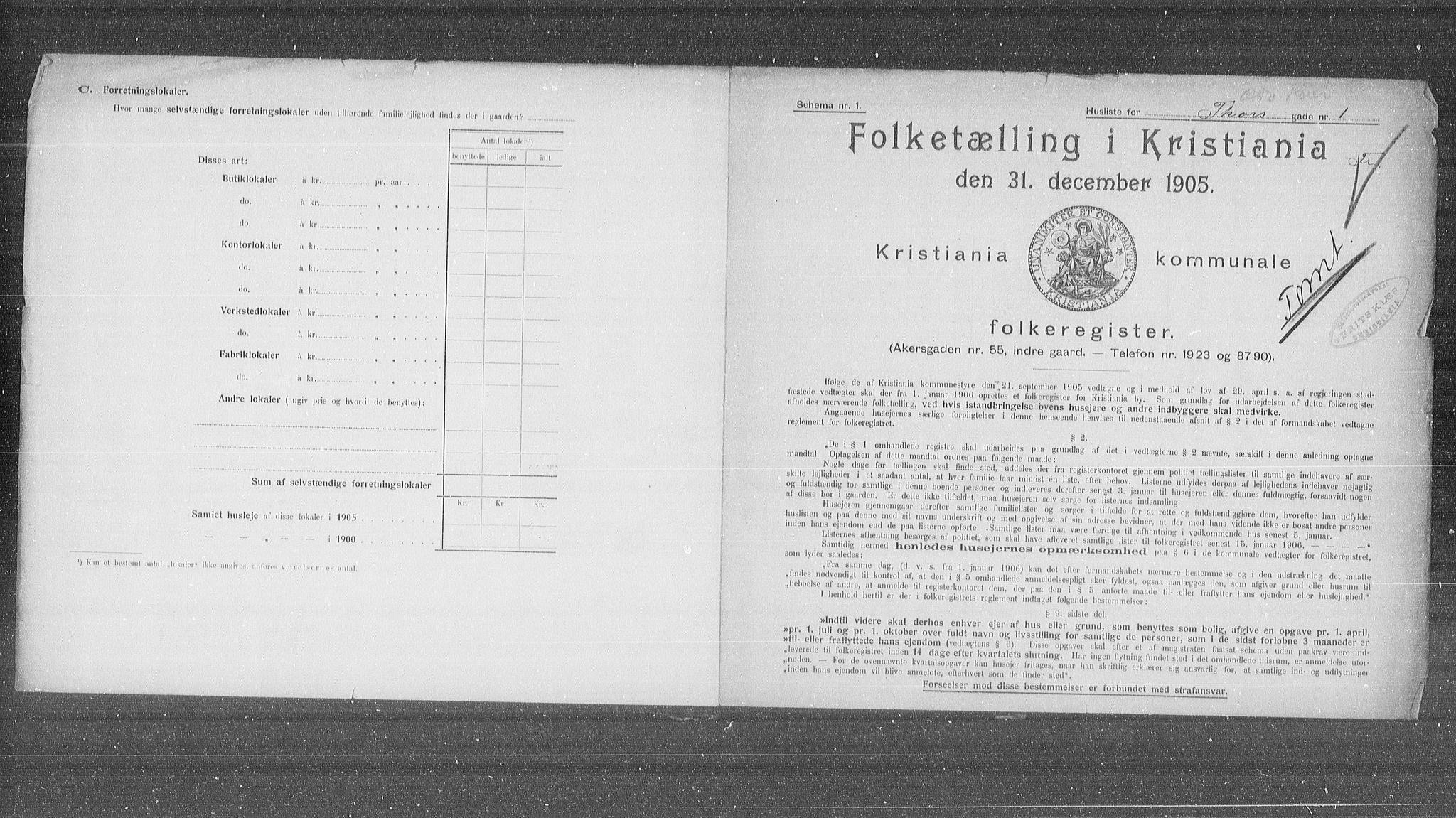 OBA, Municipal Census 1905 for Kristiania, 1905, p. 59611