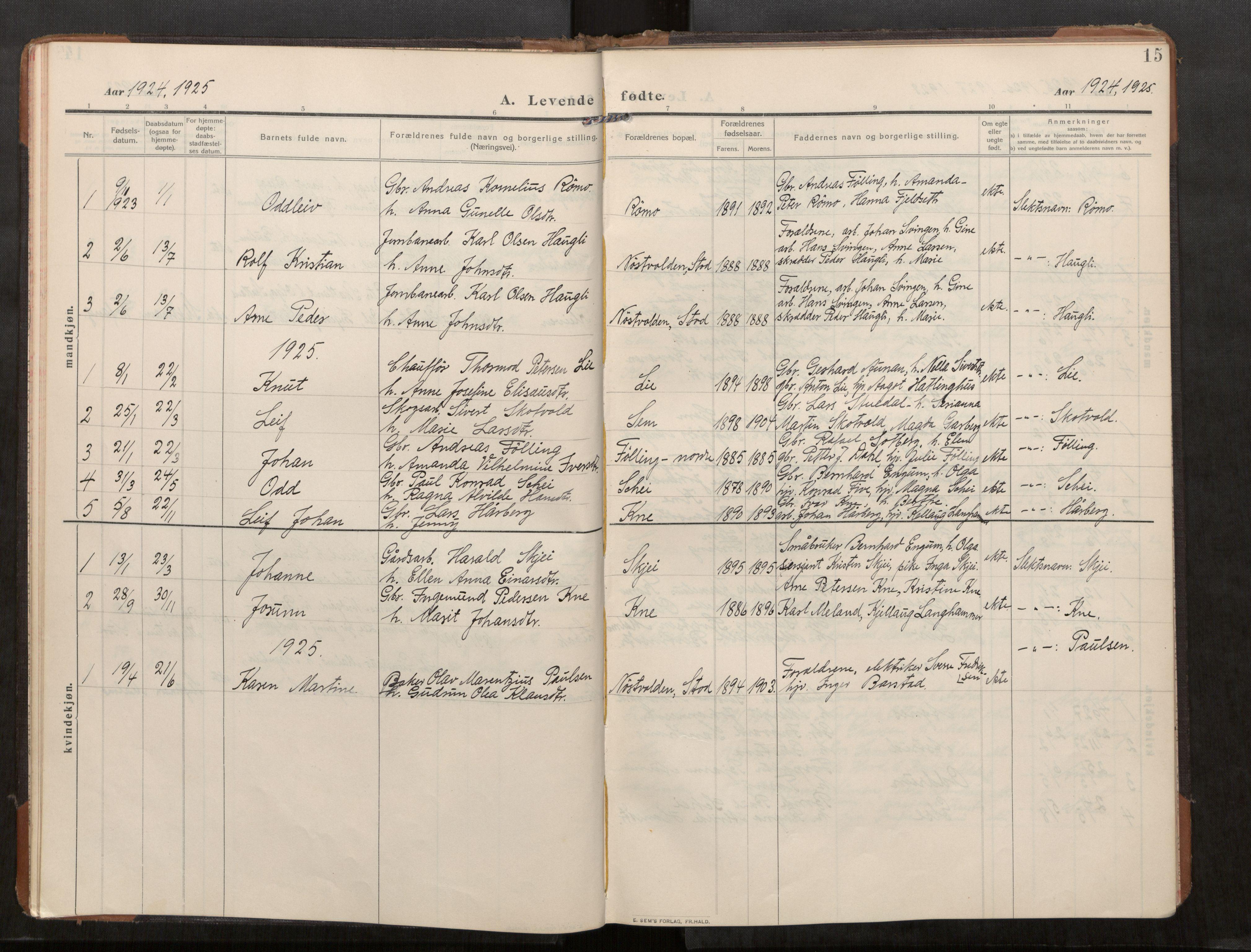 SAT, Stod sokneprestkontor, I/I1/I1a/L0003: Parish register (official) no. 3, 1909-1934, p. 15
