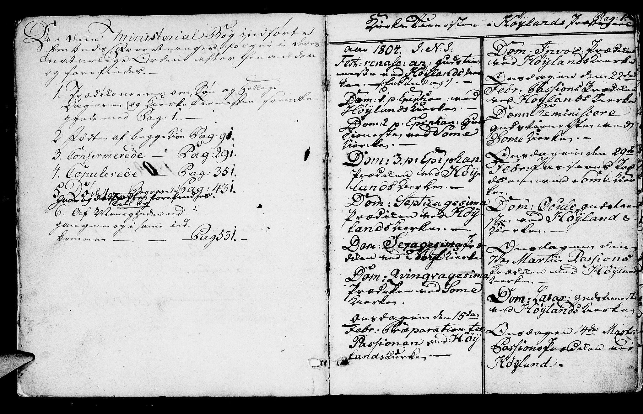 SAST, Høyland sokneprestkontor, 30BA/L0005: Parish register (official) no. A 5, 1804-1815, p. 1