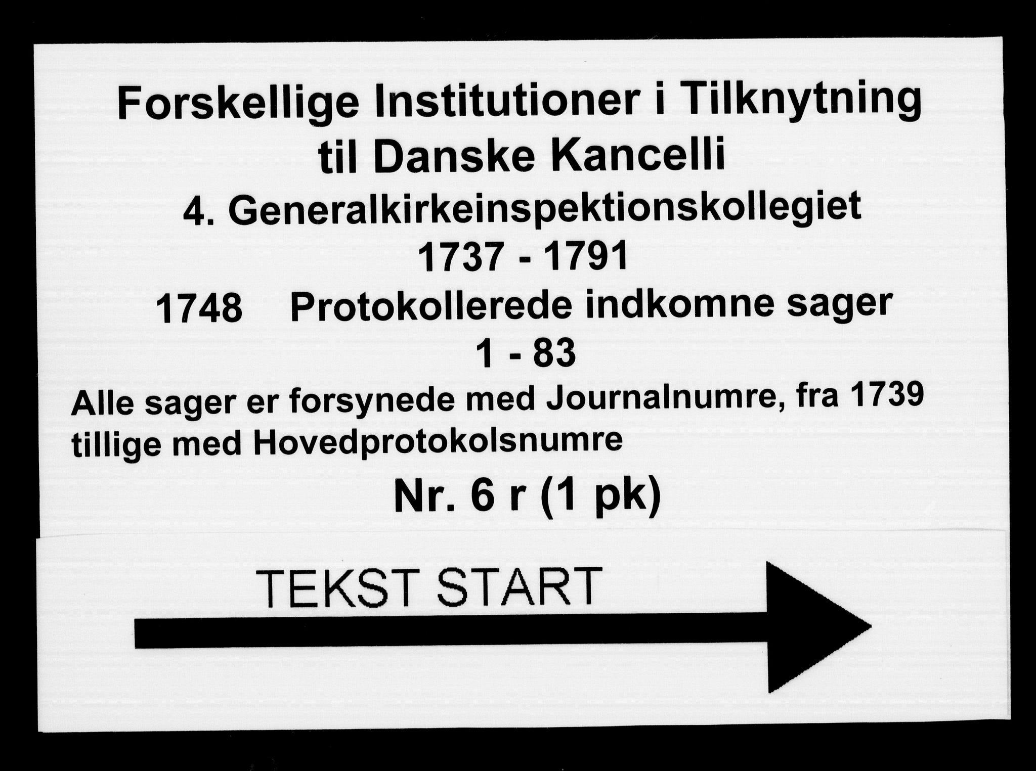 DRA, Generalkirkeinspektionskollegiet, F4-06/F4-06-18: Protokollerede indkomne sager, 1748