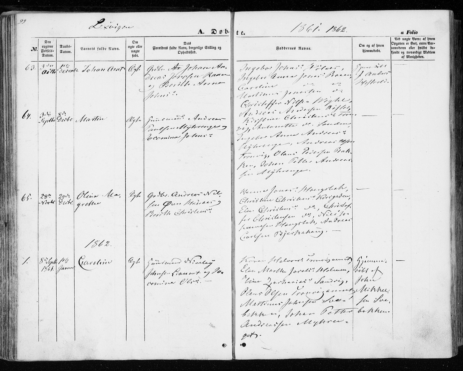 SAT, Ministerialprotokoller, klokkerbøker og fødselsregistre - Nord-Trøndelag, 701/L0008: Parish register (official) no. 701A08 /1, 1854-1863, p. 99