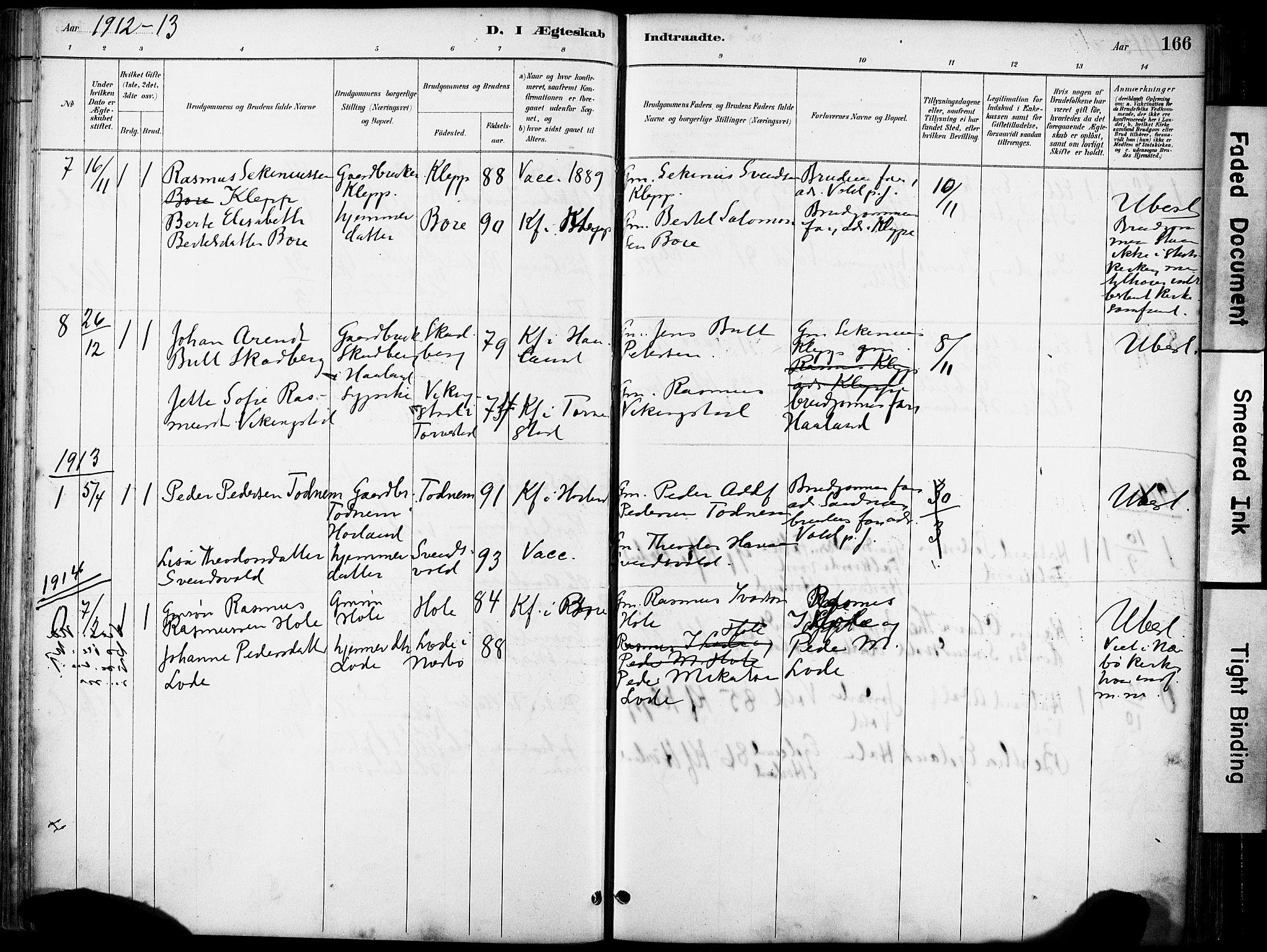 SAST, Klepp sokneprestkontor, 30BA/L0008: Parish register (official) no. A 9, 1886-1919, p. 166