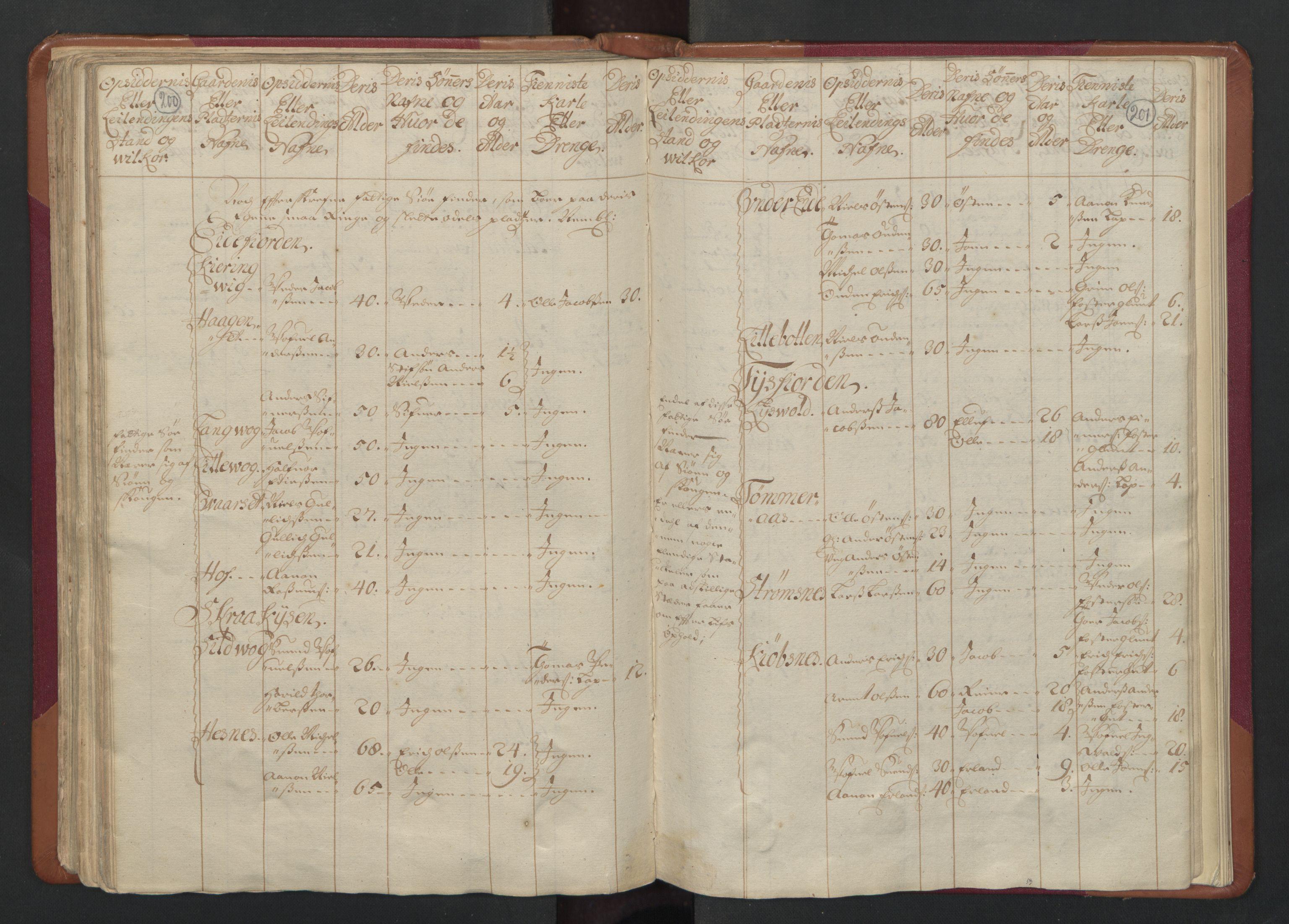 RA, Census (manntall) 1701, no. 17: Salten fogderi, 1701, p. 200-201