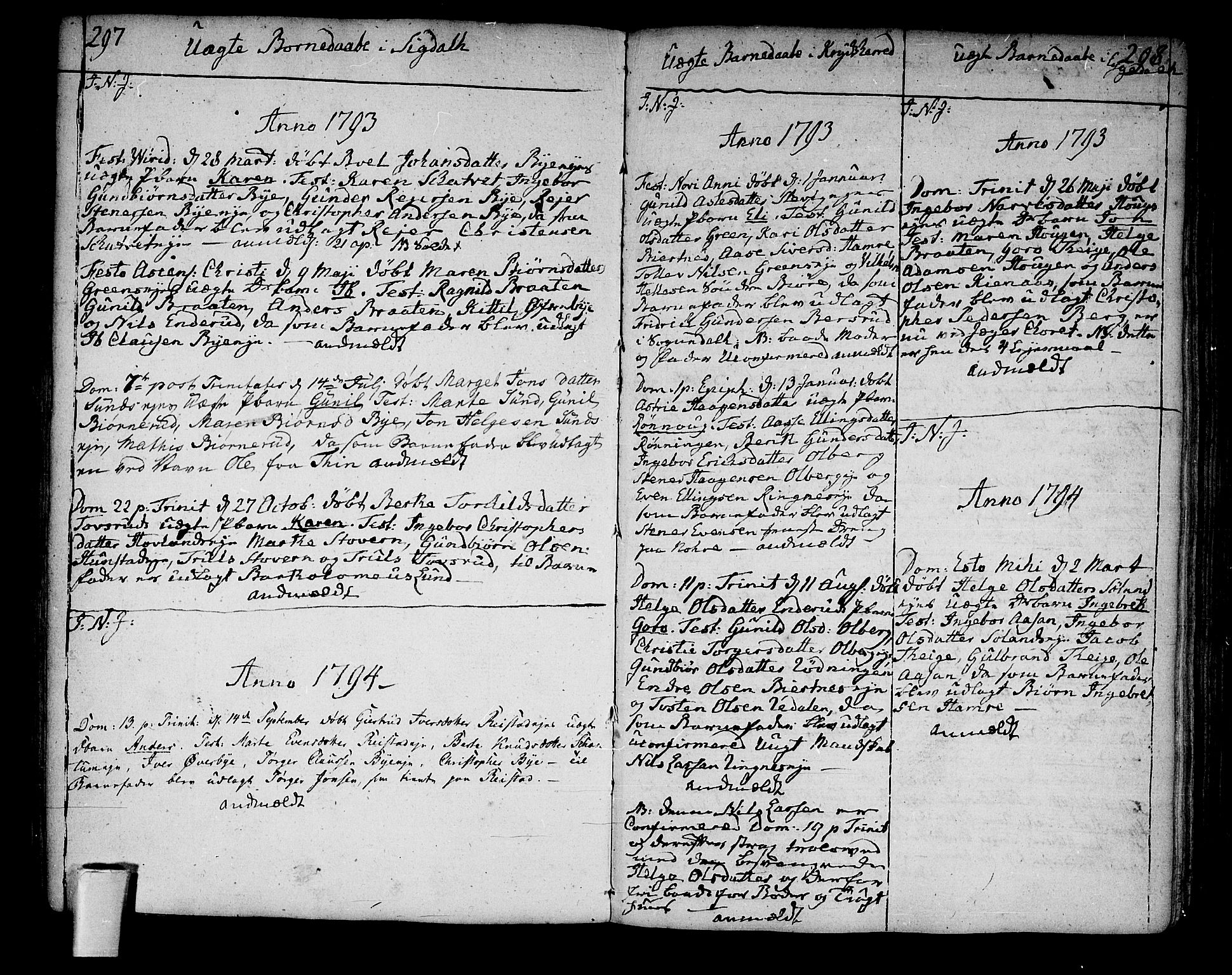 SAKO, Sigdal kirkebøker, F/Fa/L0003: Parish register (official) no. I 3, 1793-1811, p. 297-298