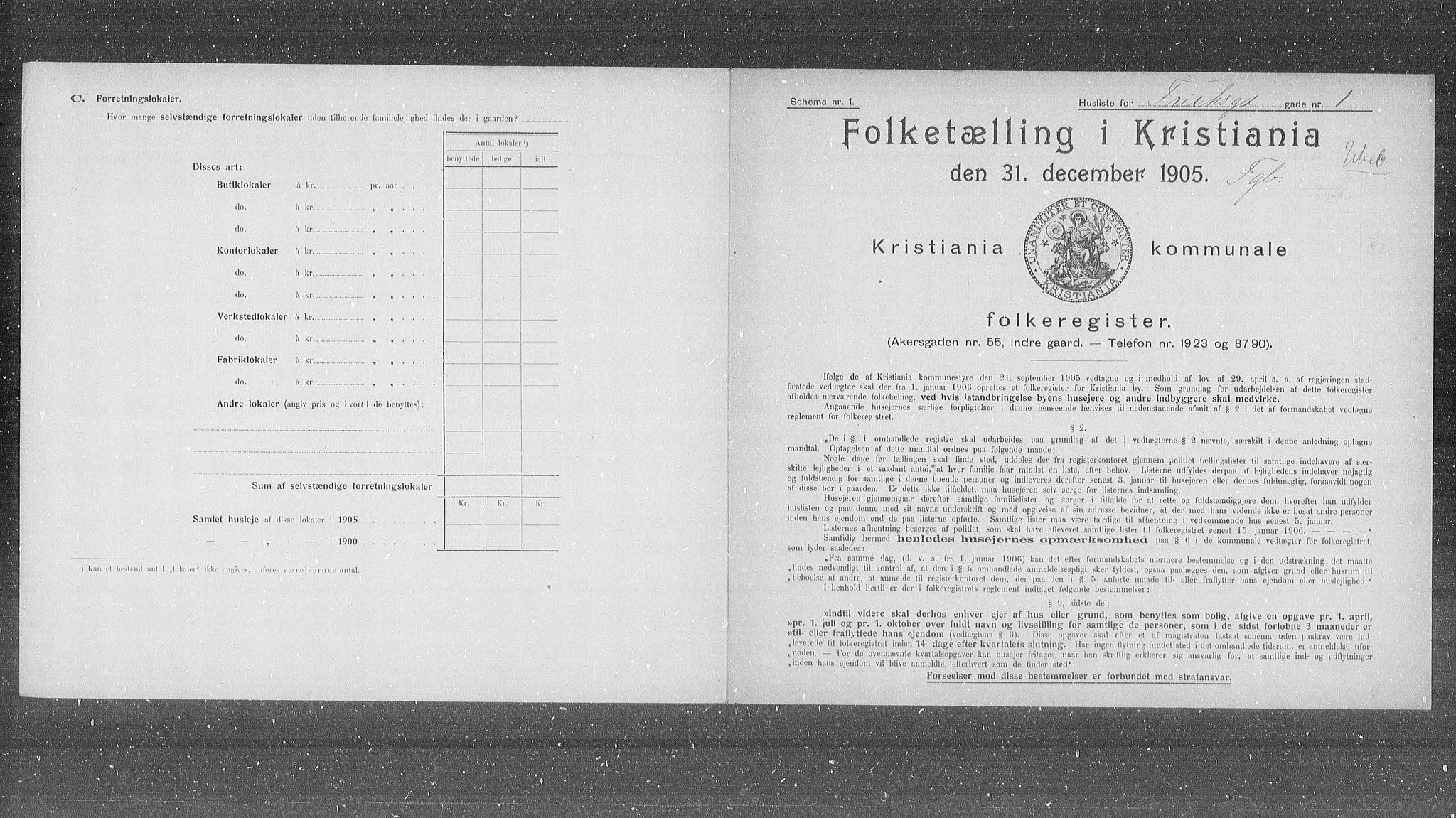 OBA, Municipal Census 1905 for Kristiania, 1905, p. 13831