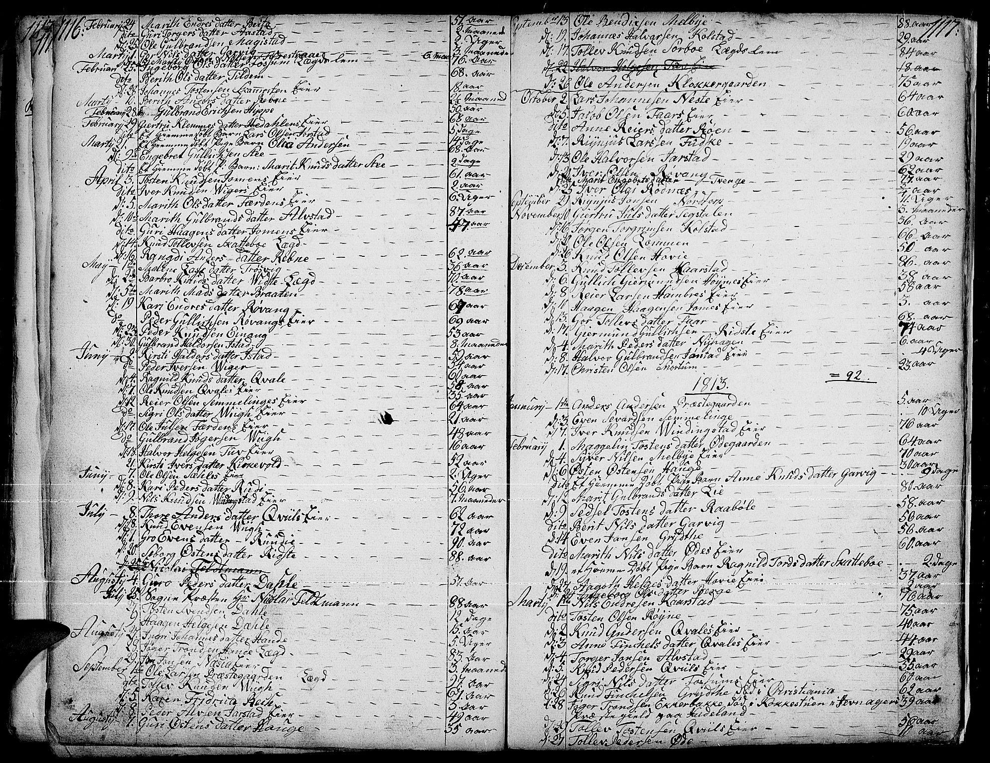 SAH, Slidre prestekontor, Parish register (official) no. 1, 1724-1814, p. 1116-1117