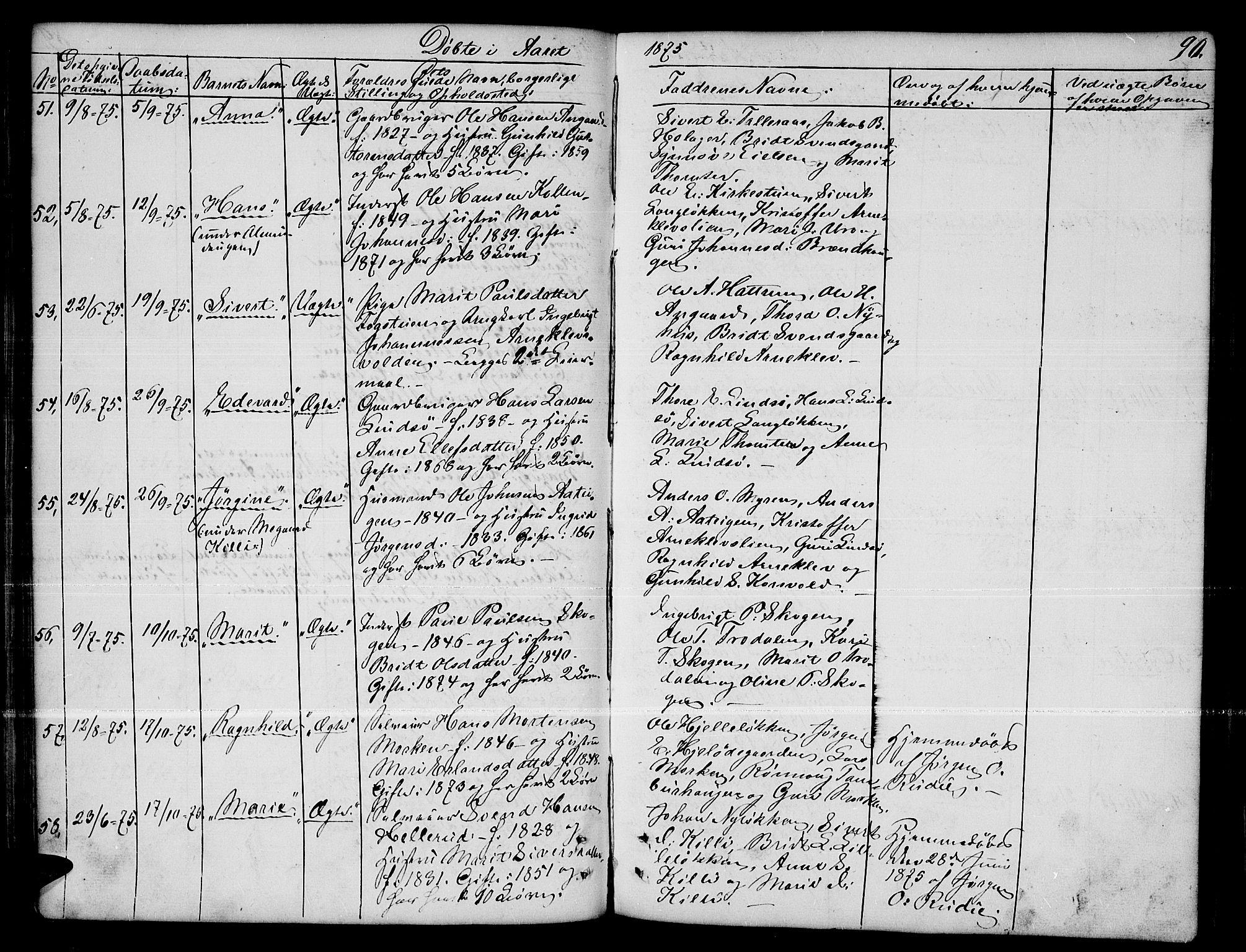 SAH, Dovre prestekontor, Parish register (copy) no. 1, 1862-1880, p. 90